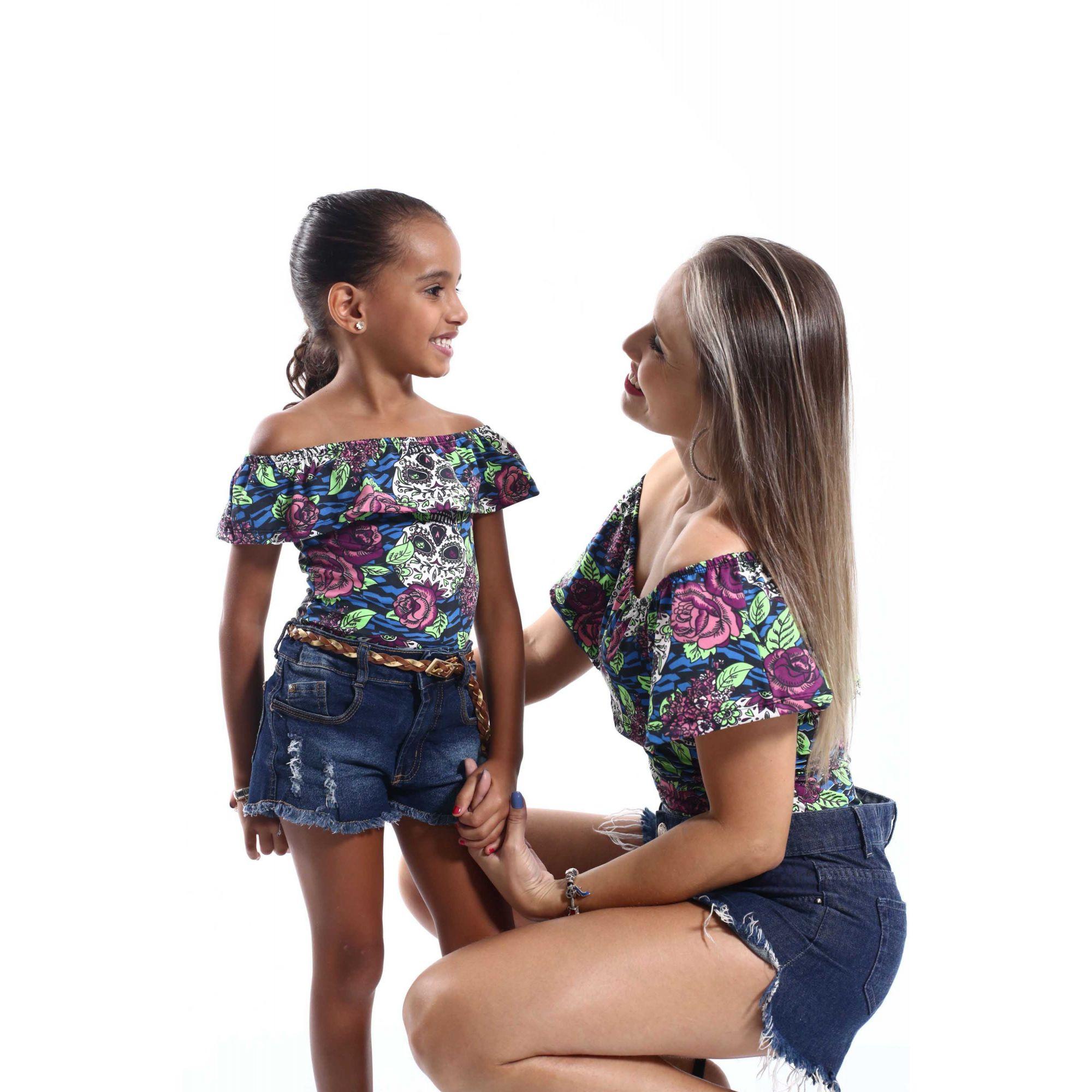 Mãe e Filha > Kit 02 Bodys Femininos Ciganinha Caveira Mexicana  [Coleção Tal Mãe Tal Filha]