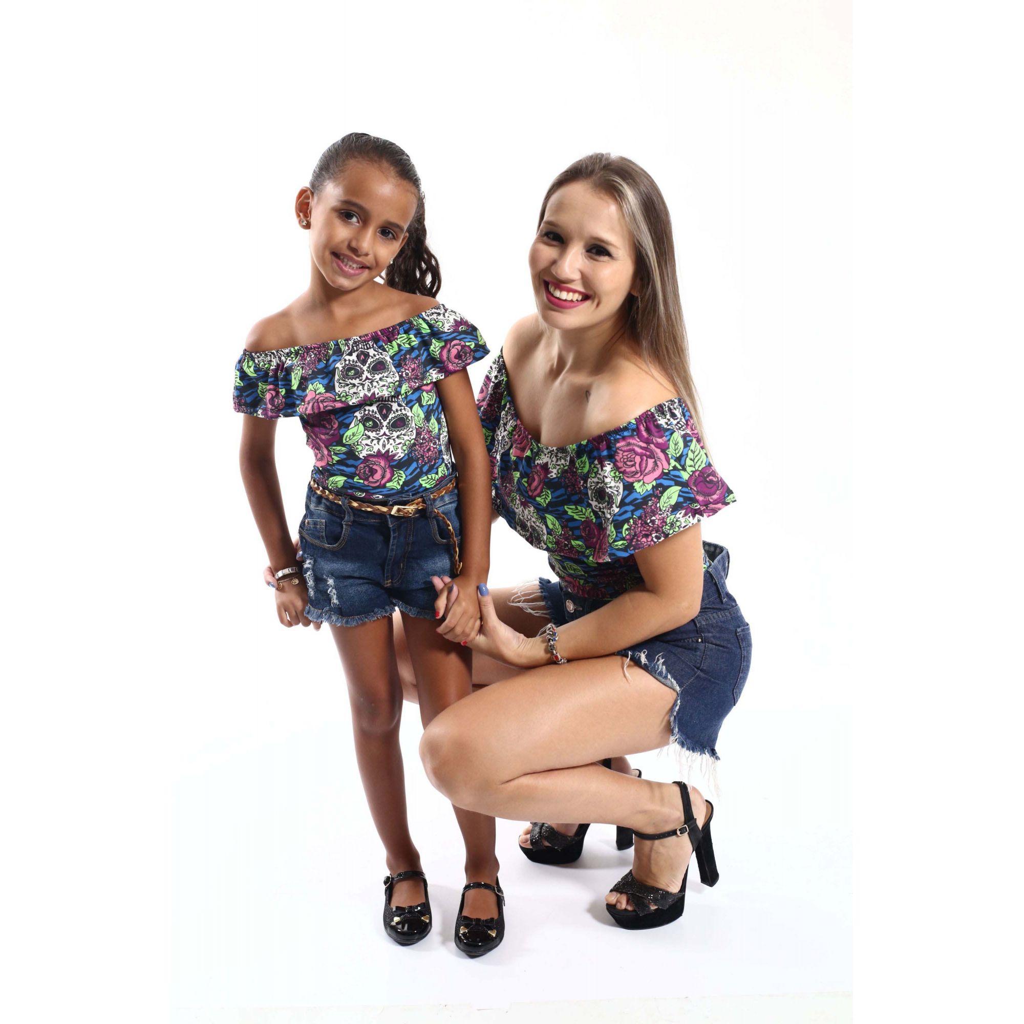 Mãe e Filha > Kit 02 Bodys Femininos Ciganinha Caveira Mexicana  [Coleção Tal Mãe Tal Filha]  - Heitor Fashion Brazil