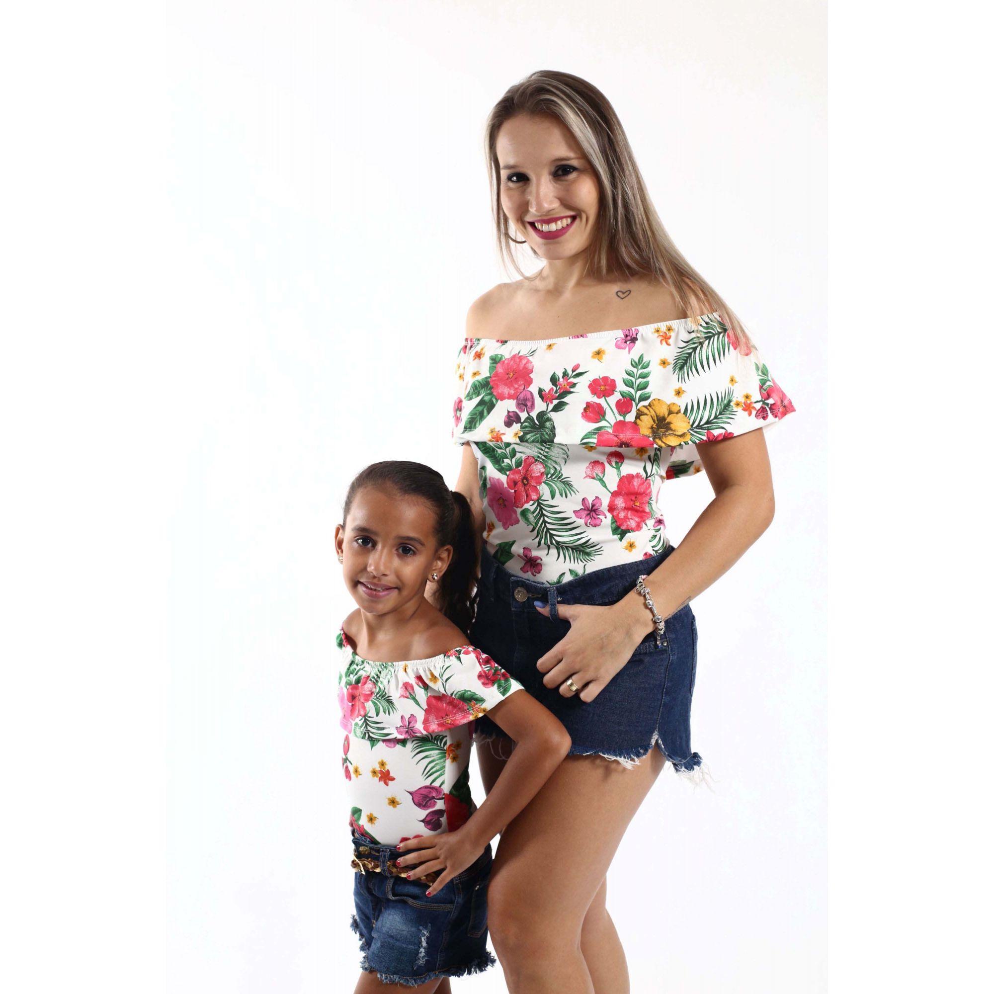 Mãe e Filha > Kit 02 Bodys Femininos Ciganinha Flores  [Coleção Tal Mãe Tal Filha]  - Heitor Fashion Brazil