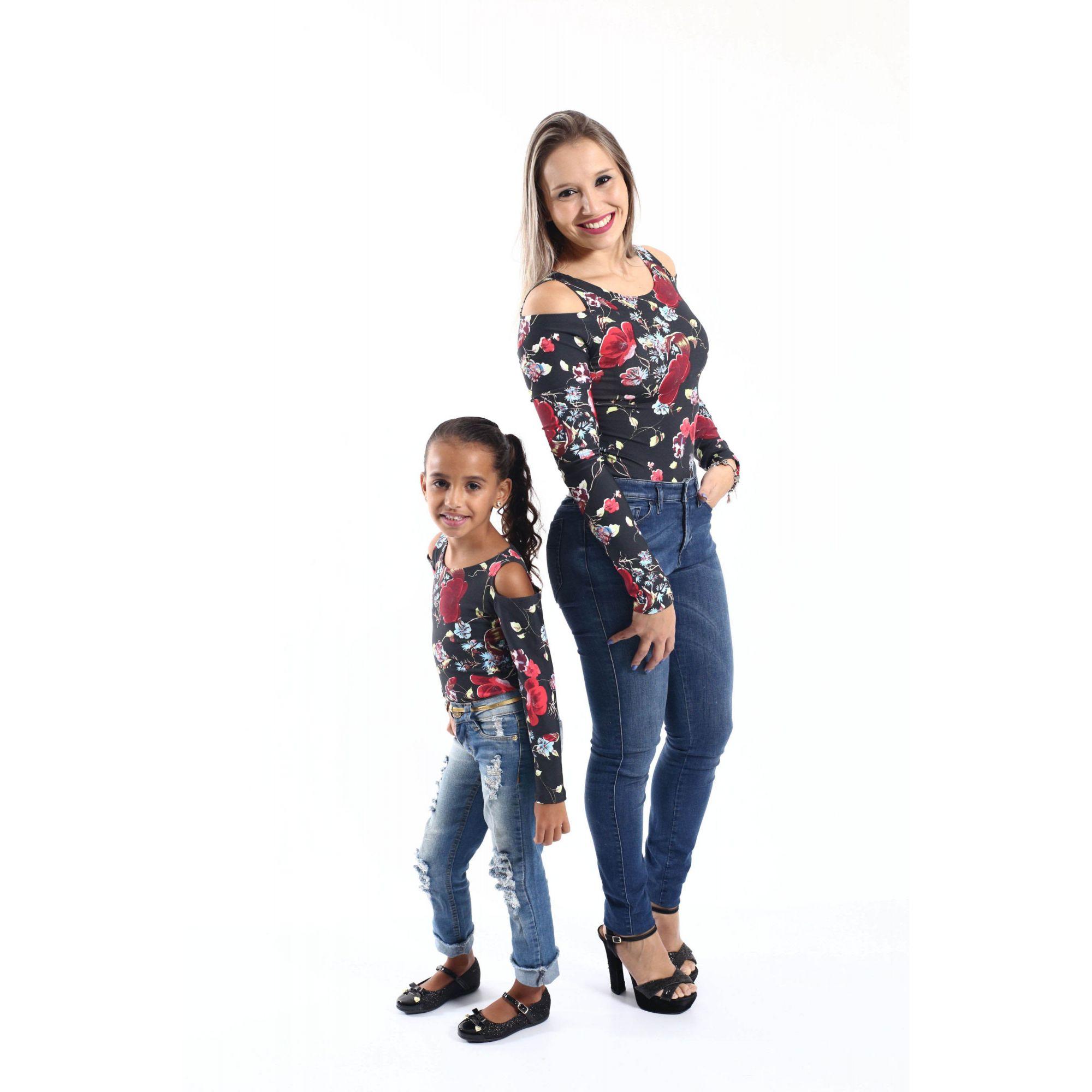 Mãe e Filha > Kit 02 Bodys Femininos manga Longa Rosas  [Coleção Tal Mãe Tal Filha]  - Heitor Fashion Brazil