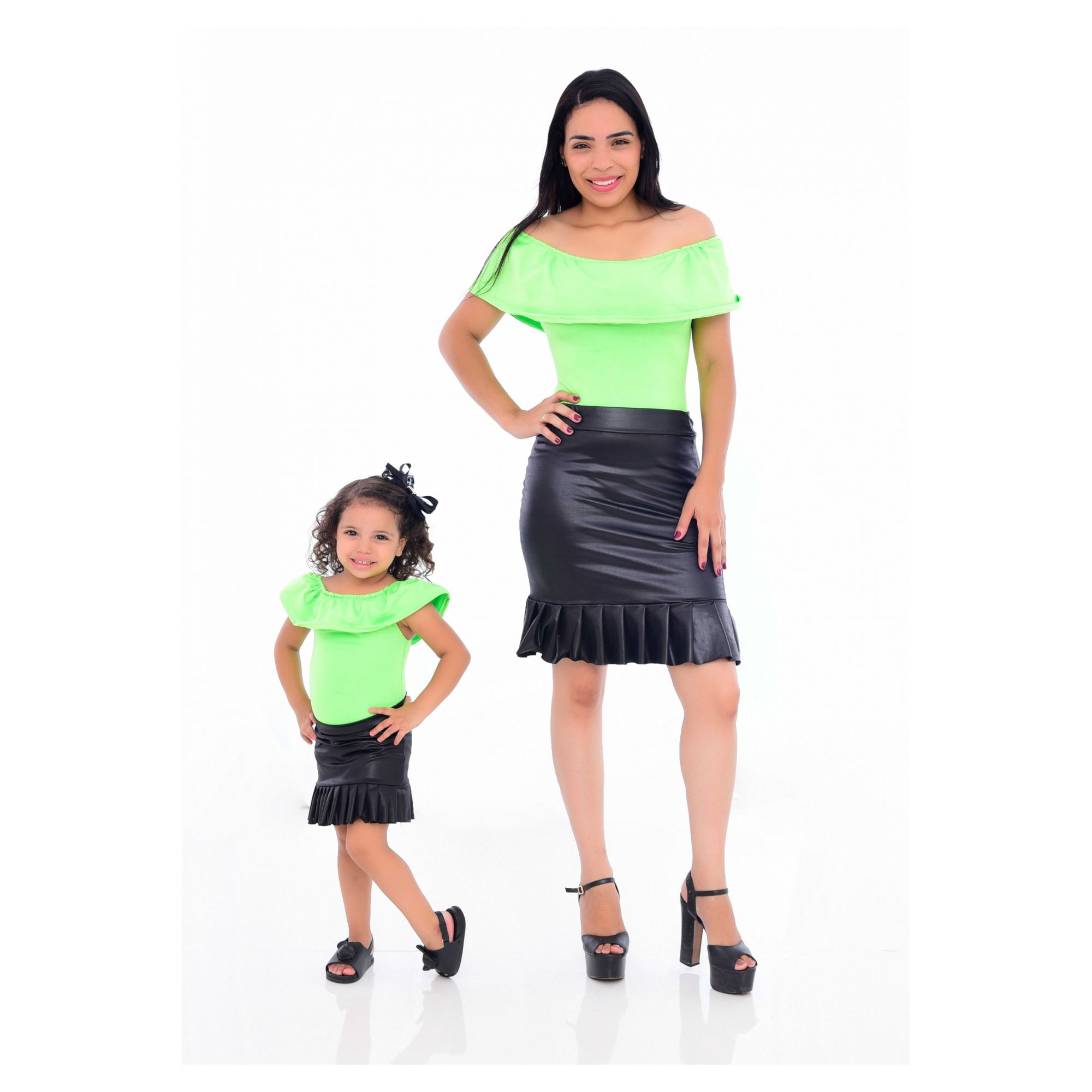 Mãe e Filha > Kit 02 Bodys Femininos Neon Verde  [Coleção Tal Mãe Tal Filha]  - Heitor Fashion Brazil