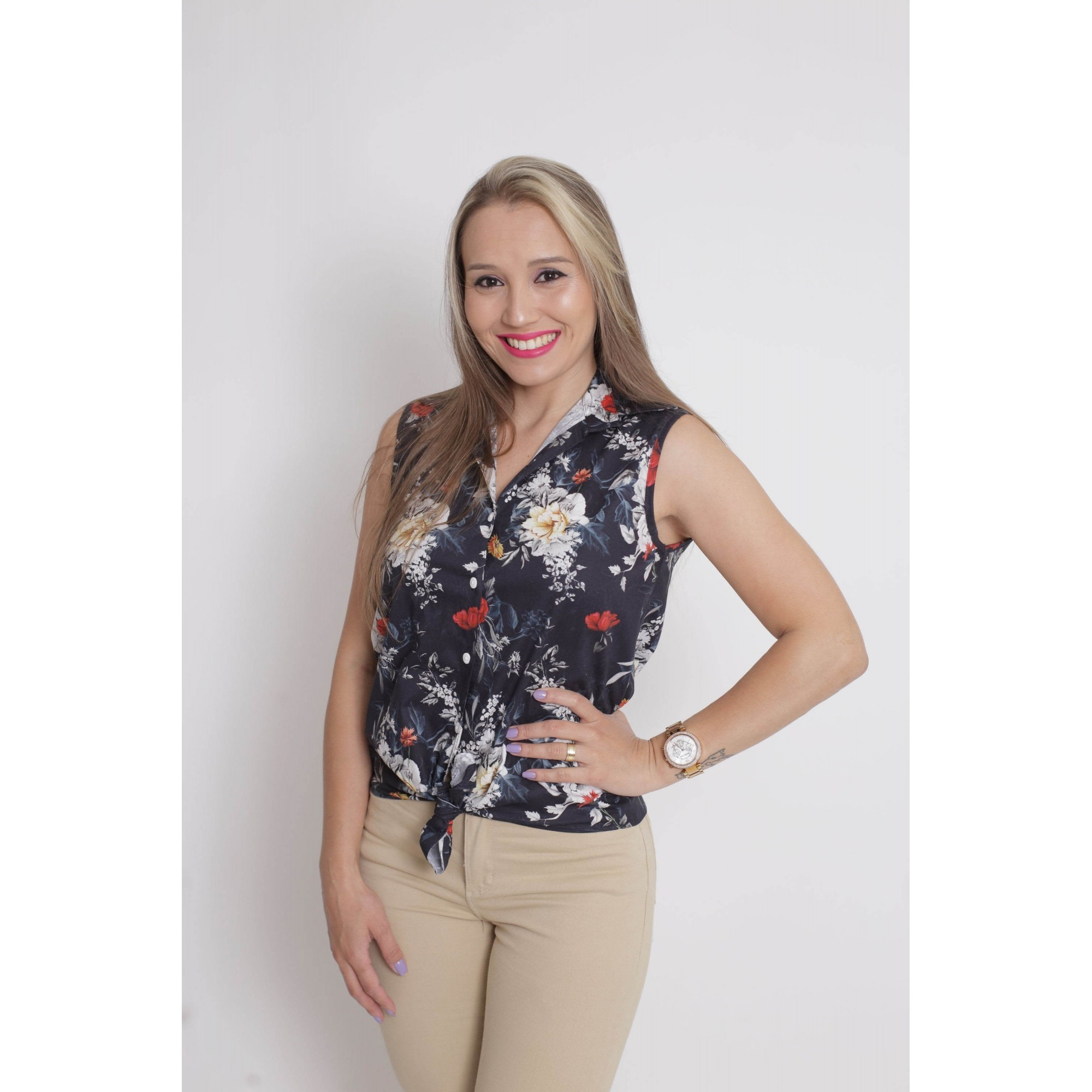 MÃE E FILHA > Kit 02 Camisas Social - Adulto e Infantil Preta Floral [Coleção Tal Mãe Tal Filha]  - Heitor Fashion Brazil