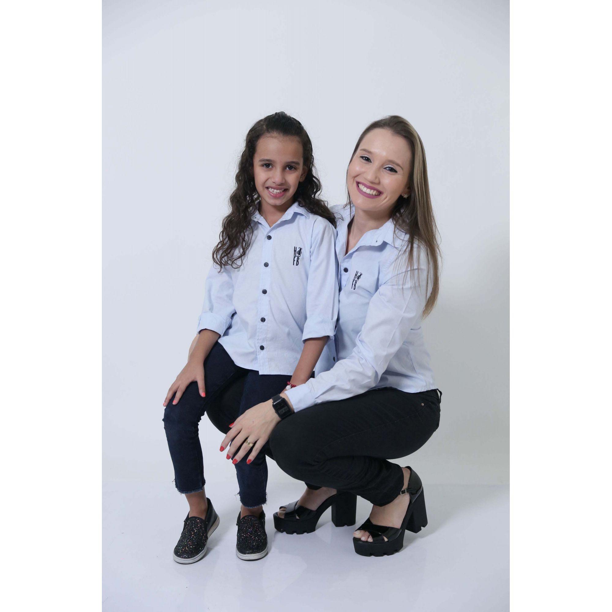 MÃE E FILHA > Kit 02 Camisas Social Azul Claro Bebê [Coleção Tal Mãe Tal Filha]  - Heitor Fashion Brazil