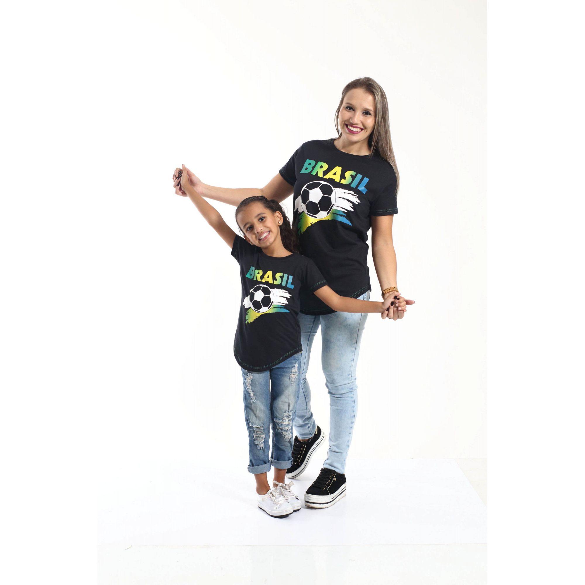 MÃE E FILHA > Kit 02 Camisetas Long Brasil [Coleção Tal Mãe Tal Filha]
