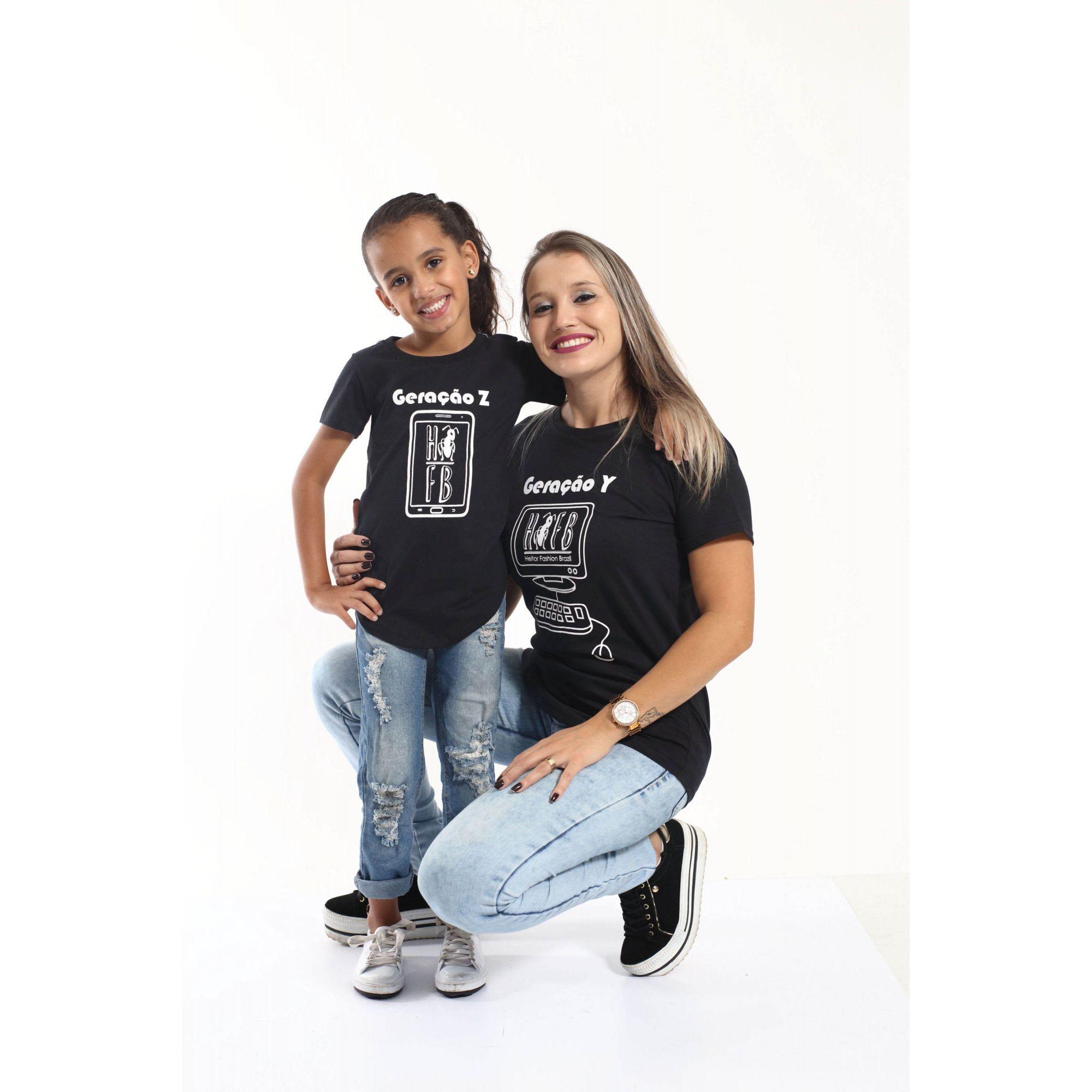 MÃE E FILHA > Kit 02 Camisetas Long Geração Z e Y [Coleção Tal Mãe Tal Filha]  - Heitor Fashion Brazil