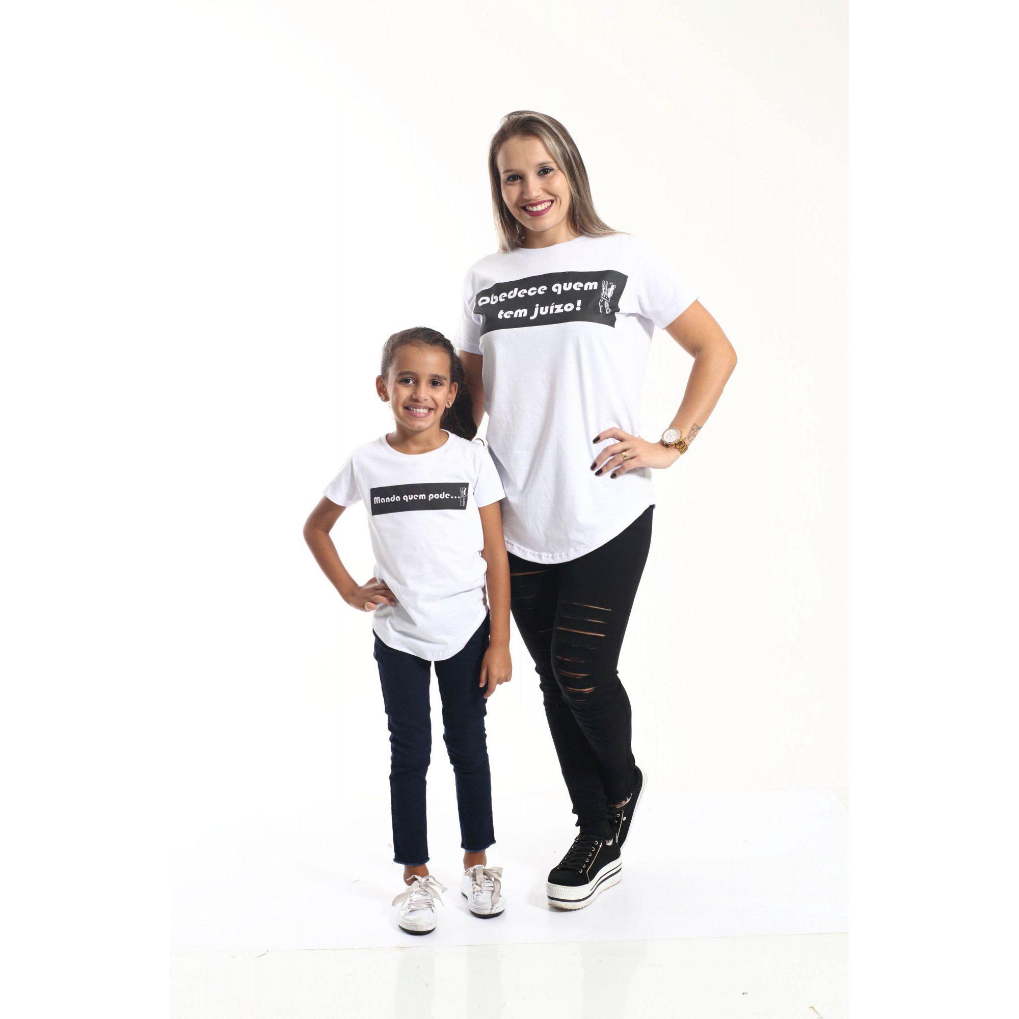 MÃE E FILHA > Kit 02 Camisetas Long Manda Quem Pode [Coleção Tal Mãe Tal Filha]
