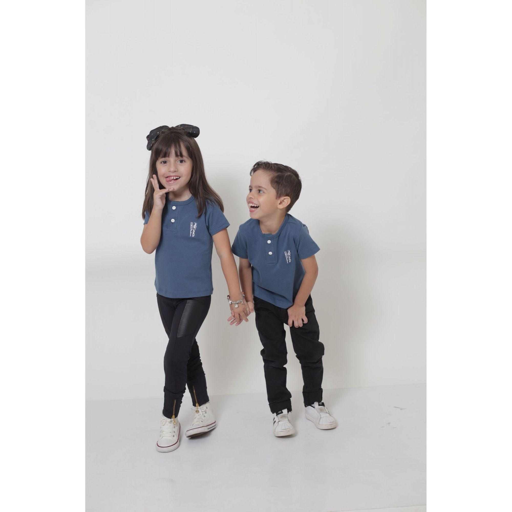 MÃE E FILHA > Kit 02 Peças T-Shirts ou Body Henley - Azul Petróleo [Coleção Tal Mãe Tal Filha]  - Heitor Fashion Brazil