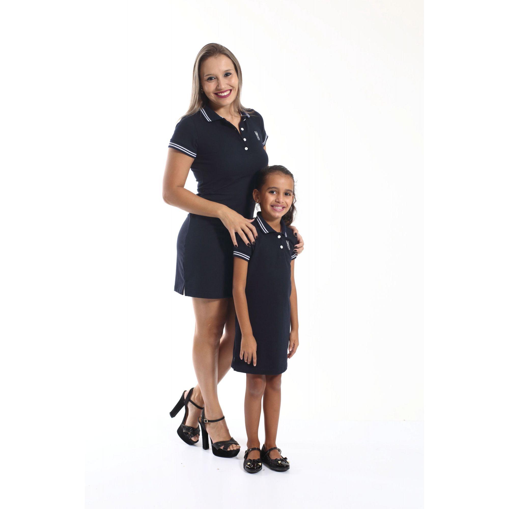 MÃE E FILHA > Kit 02 Vestidos Adulto e Infantil Azul Marinho Céu [Coleção Tal Mãe Tal Filha]