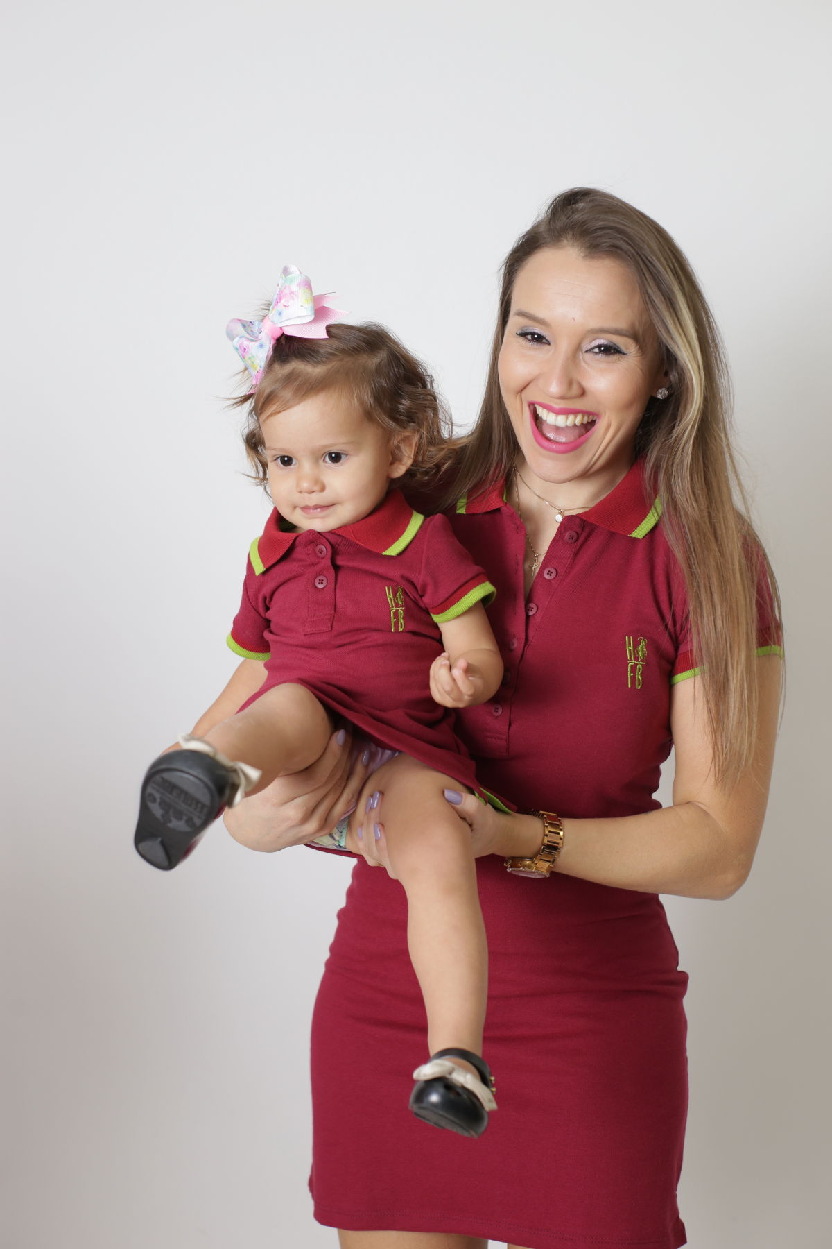 MÃE E FILHA > Kit 02 Vestidos Adulto e Infantil Bordo [Coleção Tal Mãe Tal Filha]