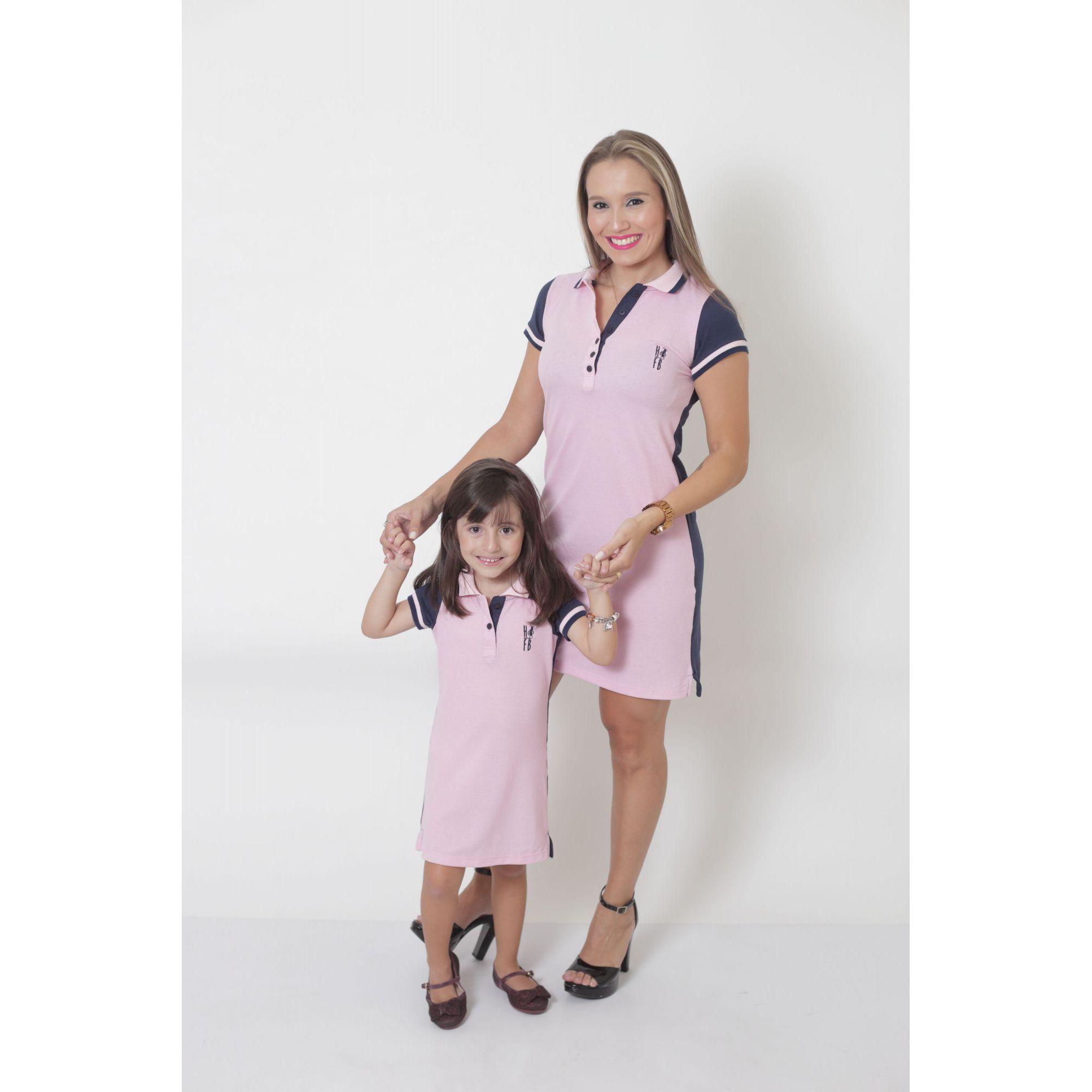 MÃE E FILHA > Kit 02 Vestidos Adulto e Infantil Dual Cor Rosa e Marinho [Coleção Tal Mãe Tal Filha]