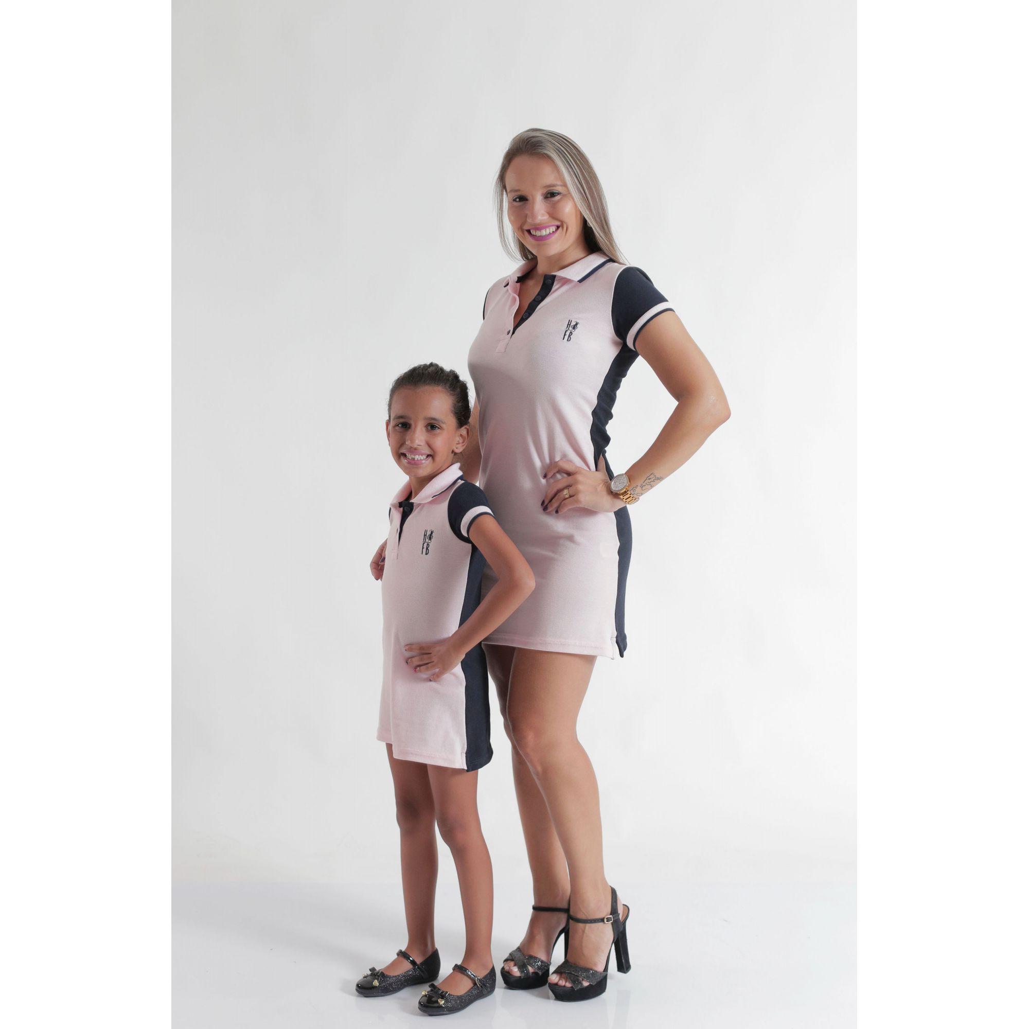 MÃE E FILHA > Kit 02 Vestidos Adulto e Infantil ou Body Rosa com Azul [Coleção Tal Mãe Tal Filha]