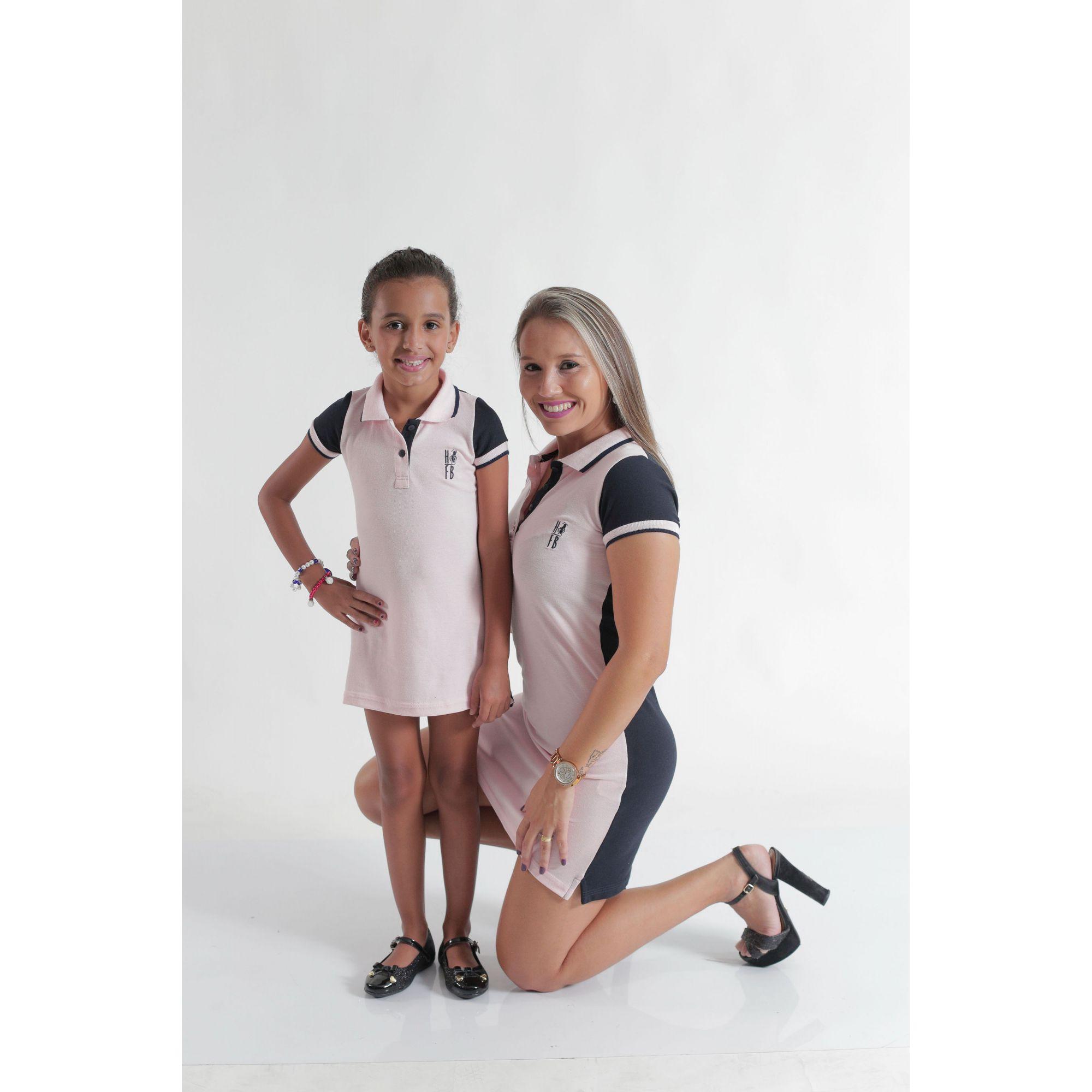 MÃE E FILHA > Kit 02 Vestidos Adulto e Infantil ou Body Rosa com Azul [Coleção Tal Mãe Tal Filha]  - Heitor Fashion Brazil