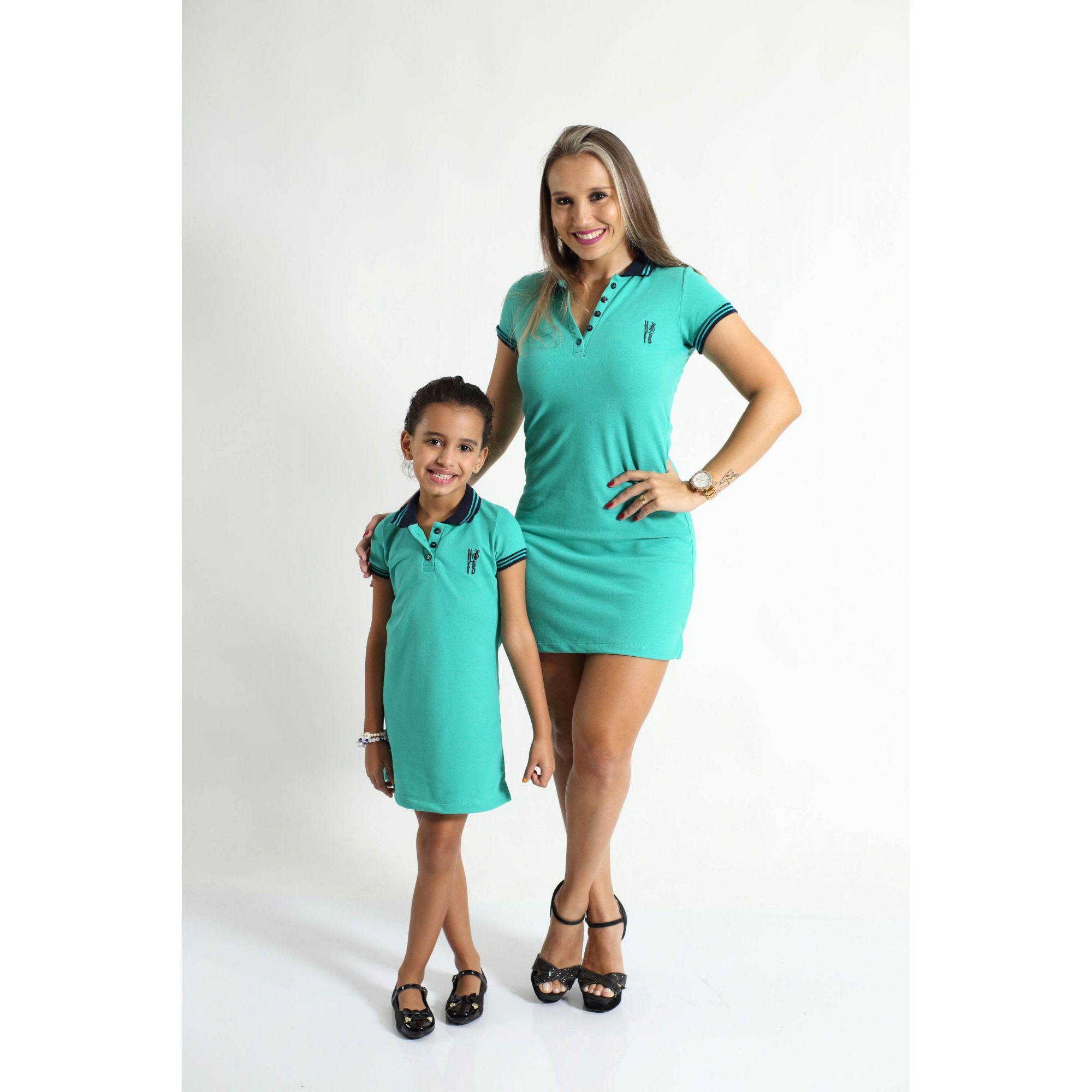 MÃE E FILHA > Kit 02 Vestidos Adulto e Infantil Verde Jade [Coleção Tal Mãe Tal Filha]