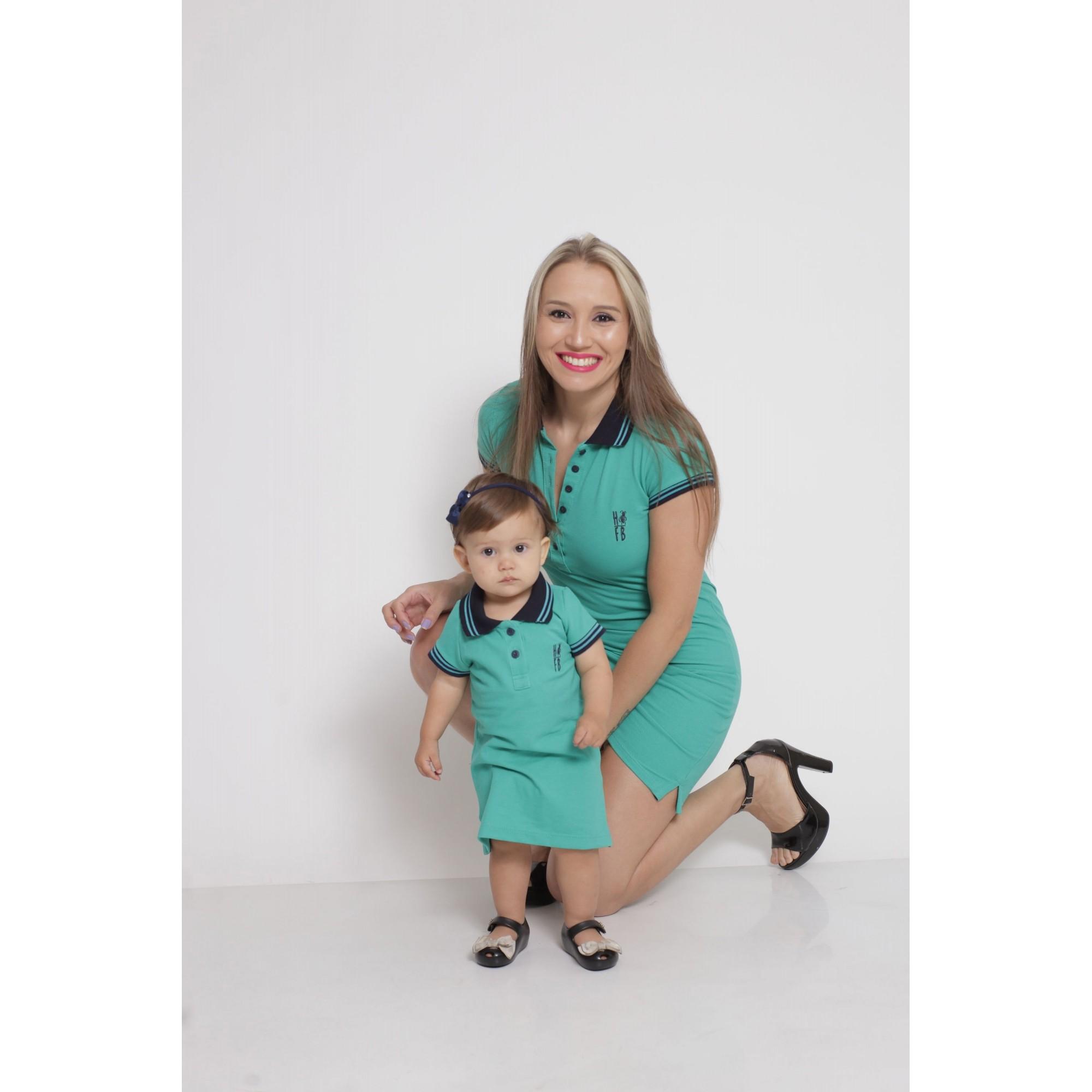 MÃE E FILHA > Kit 02 Vestidos Adulto e Infantil Verde Jade [Coleção Tal Mãe Tal Filha]  - Heitor Fashion Brazil