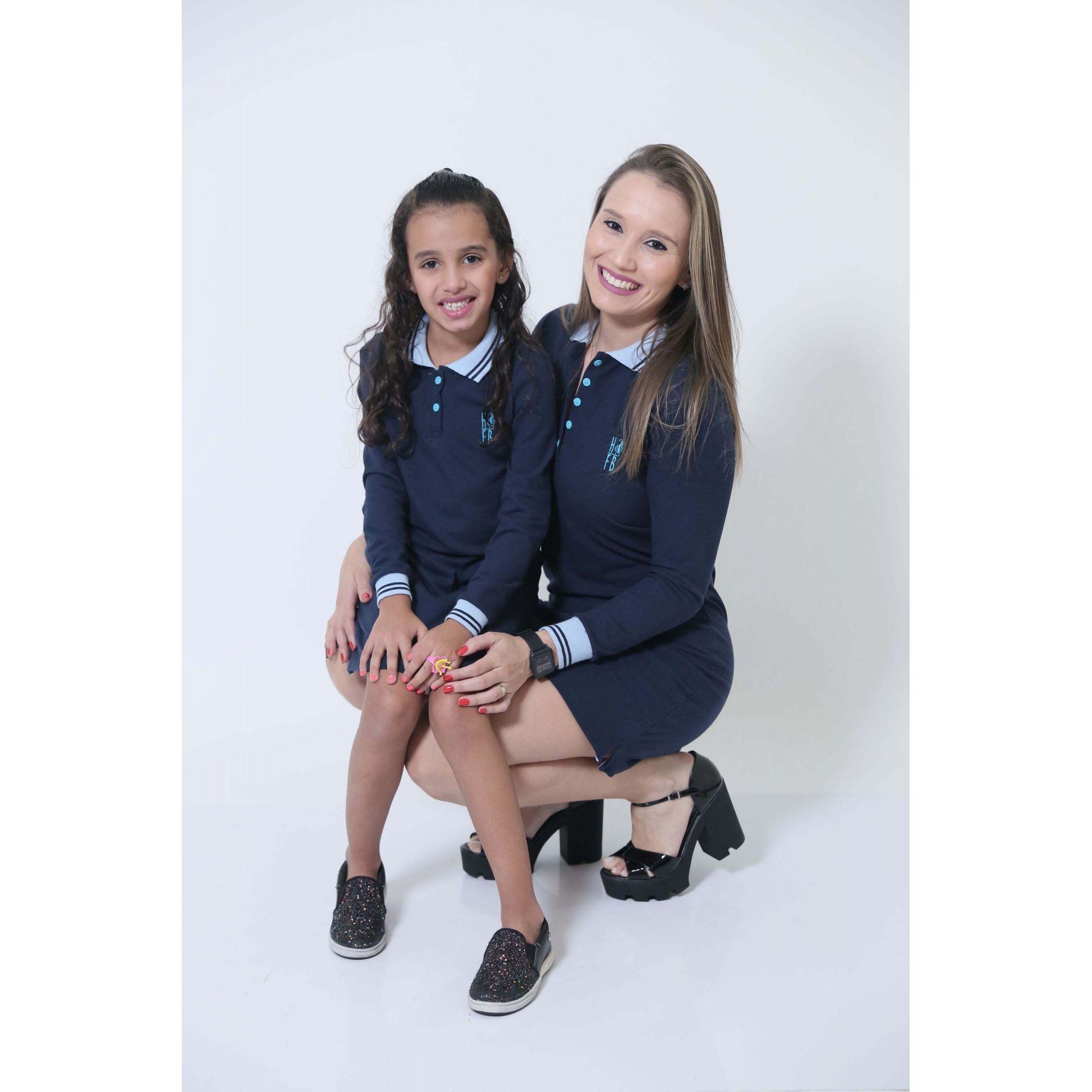 MÃE E FILHA > Kit 02 Vestidos Azul Manga Longa [Coleção Tal Mãe Tal Filha]  - Heitor Fashion Brazil