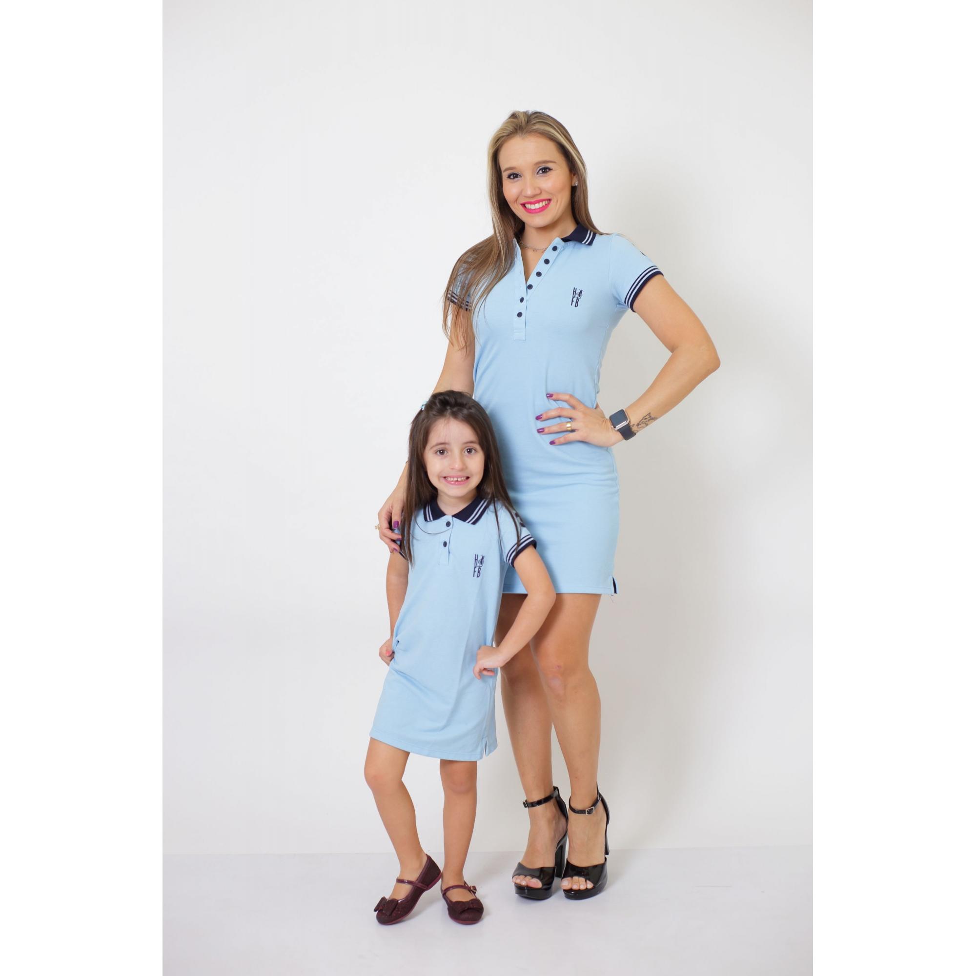 MÃE E FILHA > Kit 02 Vestidos Polo Azul Claro [Coleção Tal Mãe Tal Filha]