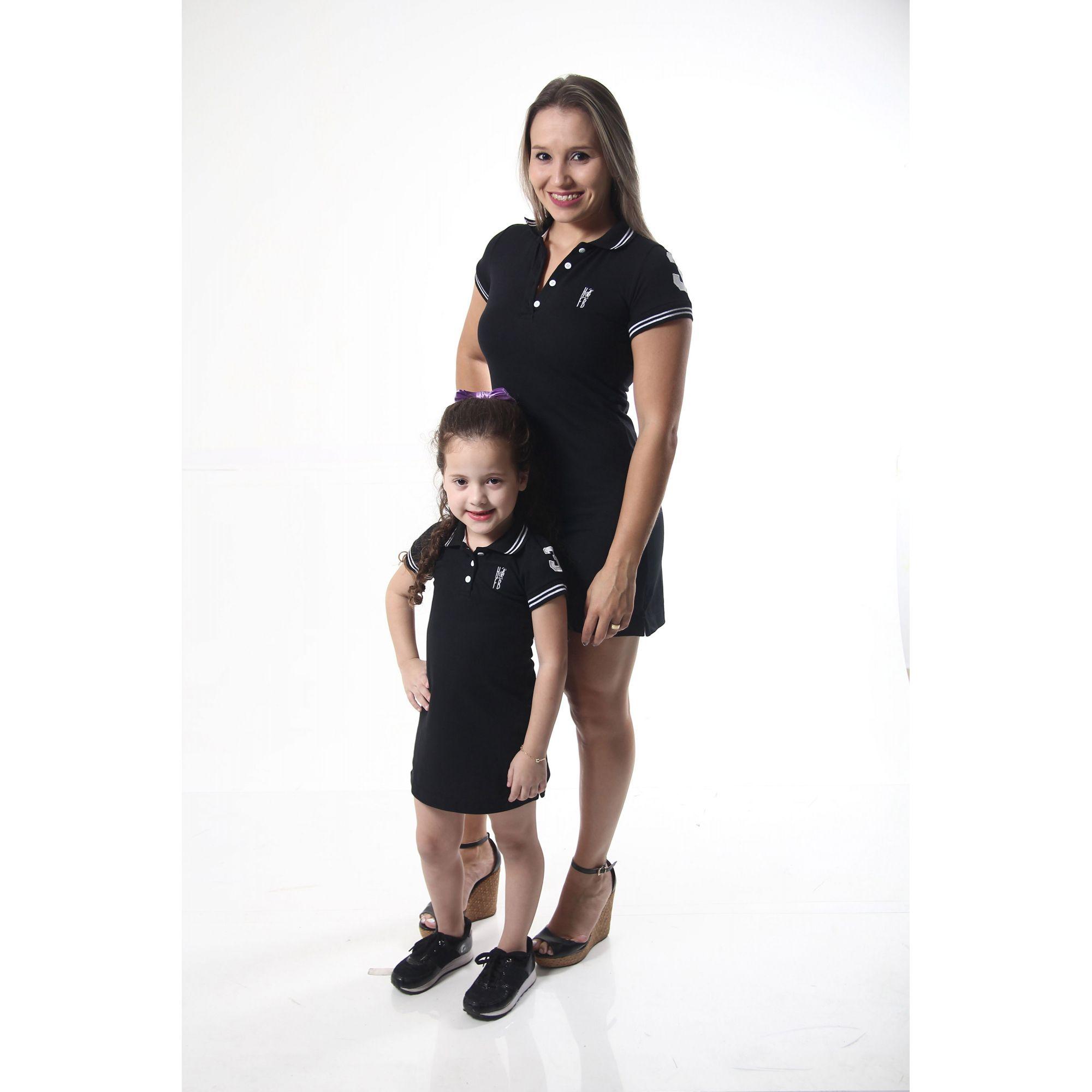 MÃE E FILHA > Kit 02 Vestidos Polo Preto Elegância [Coleção Tal Mãe Tal Filha]  - Heitor Fashion Brazil