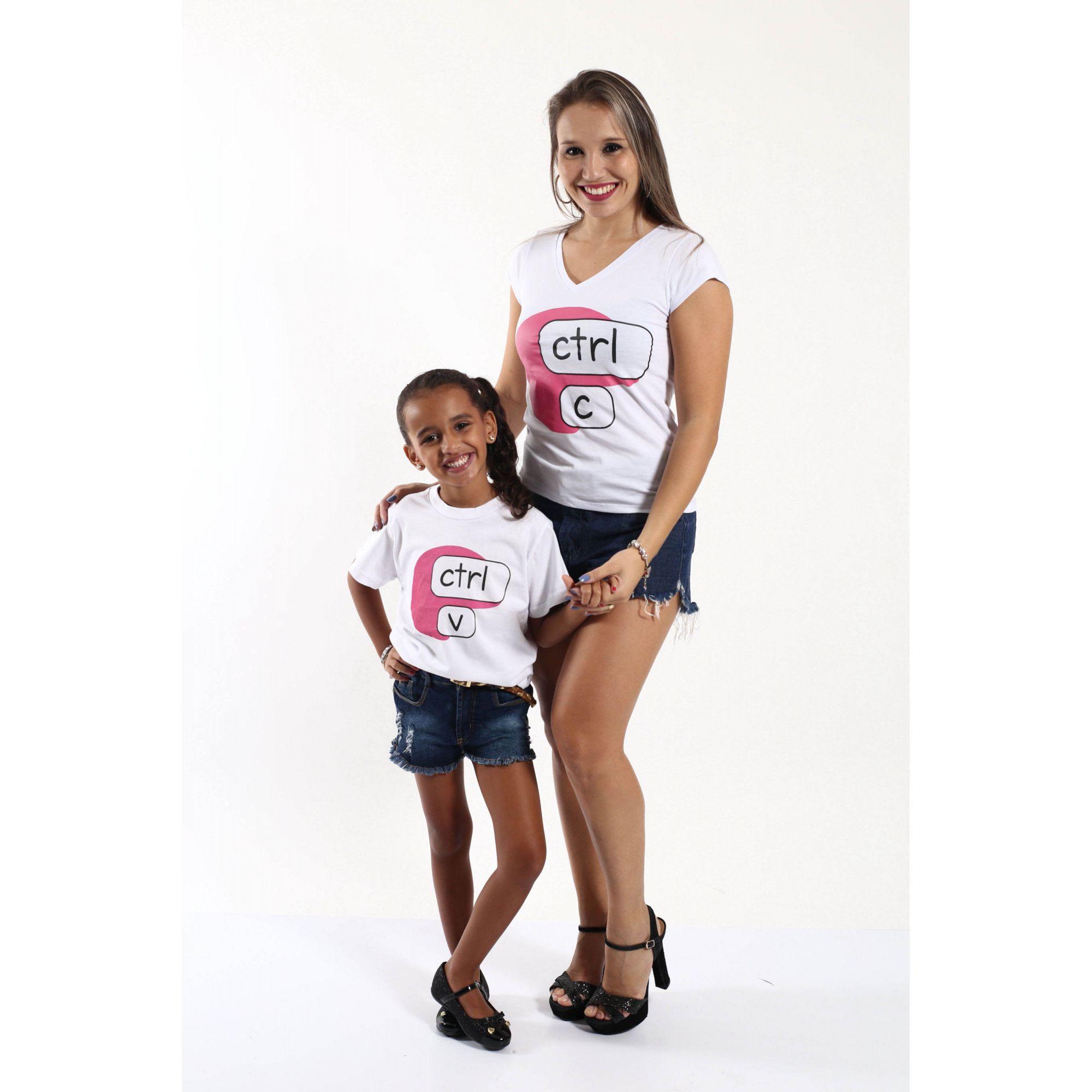 MÃE E FILHA > Kit Camisetas Brancas Ctrl+C & Ctrl+V [Coleção Tal Mãe Tal Filha]