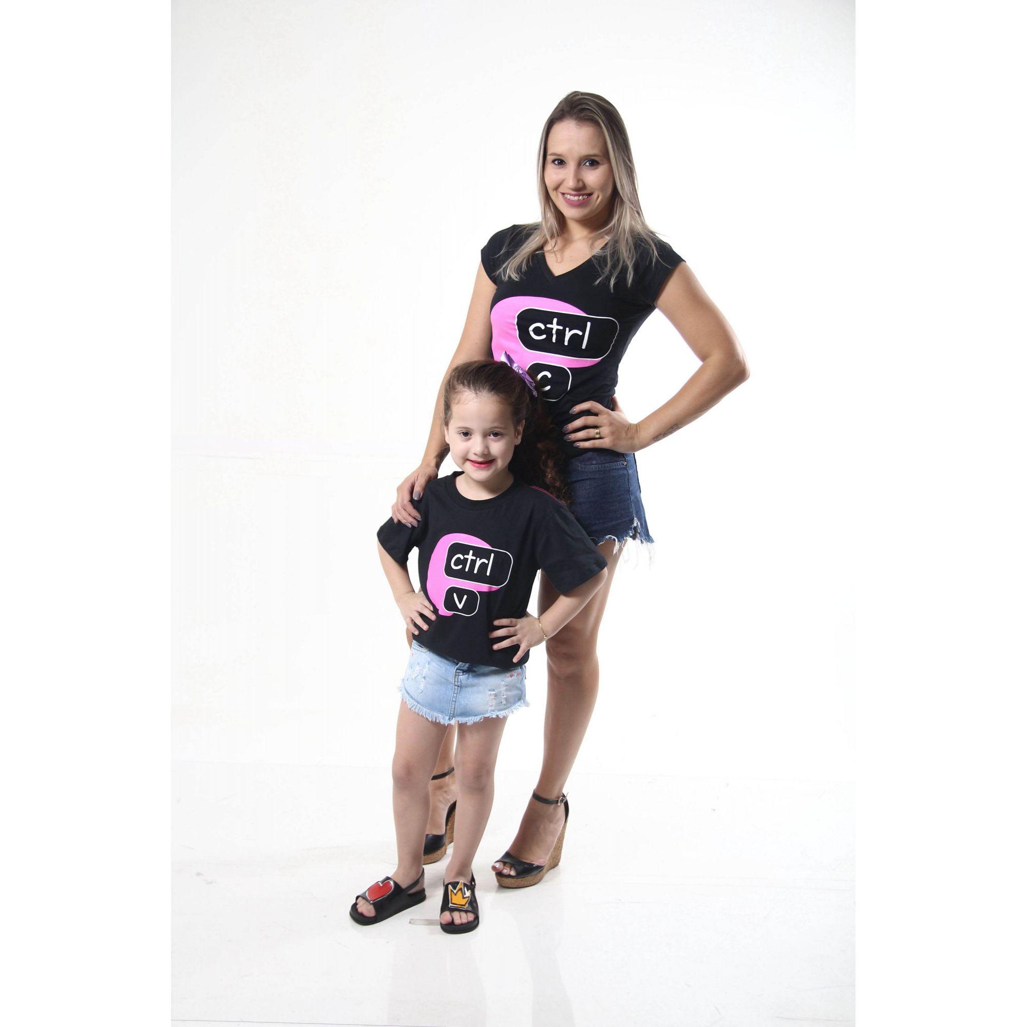 MÃE E FILHA > Kit Camisetas Pretas Ctrl+C Ctrl+V [Coleção Tal Mãe Tal Filha]  - Heitor Fashion Brazil