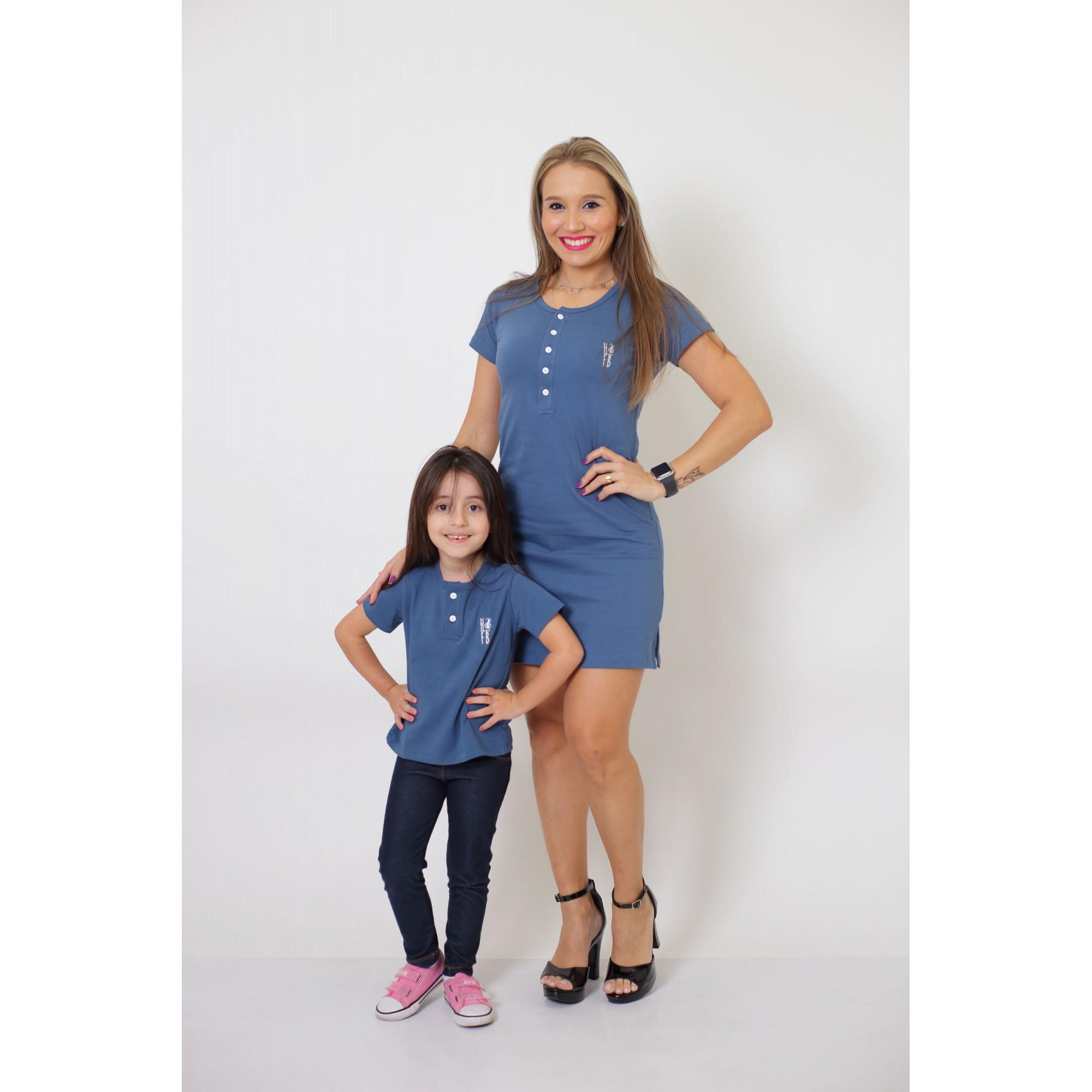 MÃE E FILHA > Kit Vestido + T-shirt Unissex ou Body Infantil - Henley - Azul Petróleo [Coleção Tal Mãe Tal Filha]