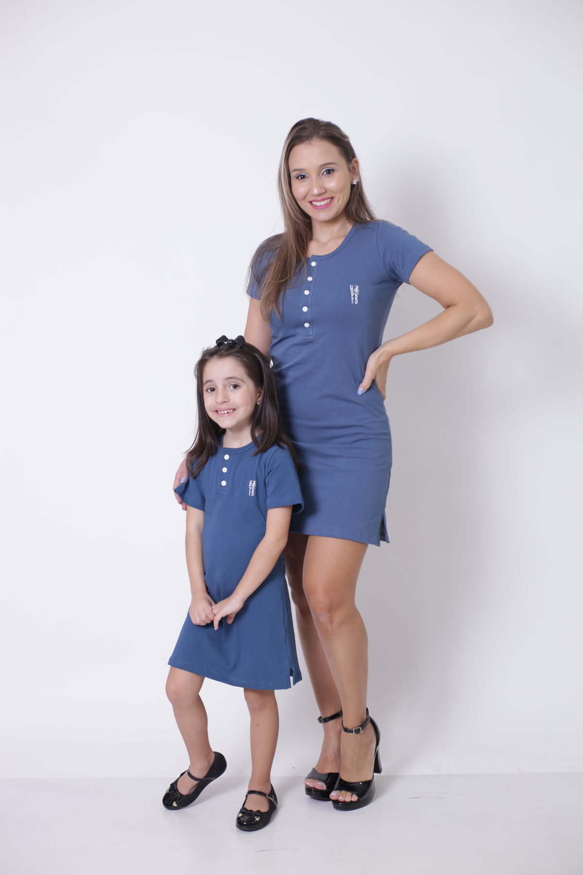 MÃE E FILHA > Kit Vestidos - Henley - Azul Petróleo [Coleção Tal Mãe Tal Filha]  - Heitor Fashion Brazil