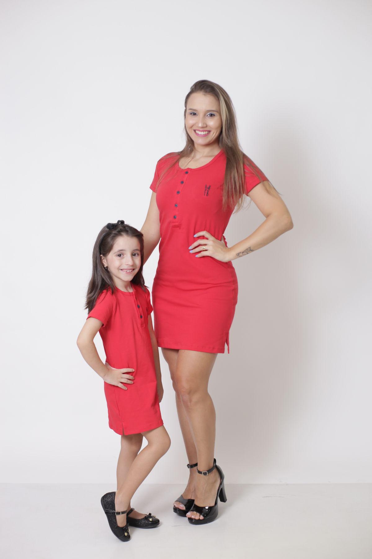 MÃE E FILHA > Kit Vestidos Henley - Vermelho [Coleção Tal Mãe Tal Filha]  - Heitor Fashion Brazil
