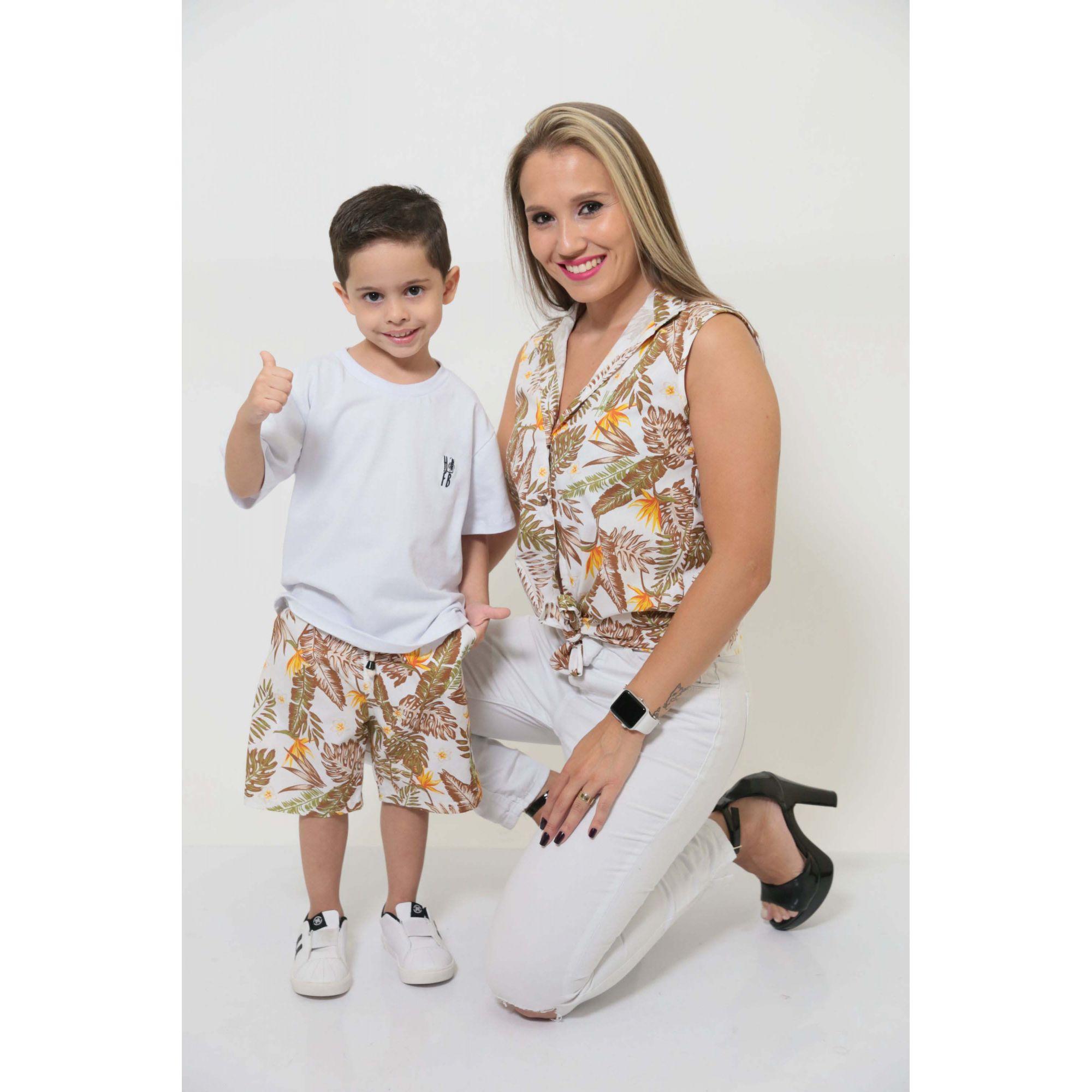 MÃE E FILHO > Camisa Feminina + Bermuda Infantil Amazonas [Coleção Tal Mãe Tal Filho]