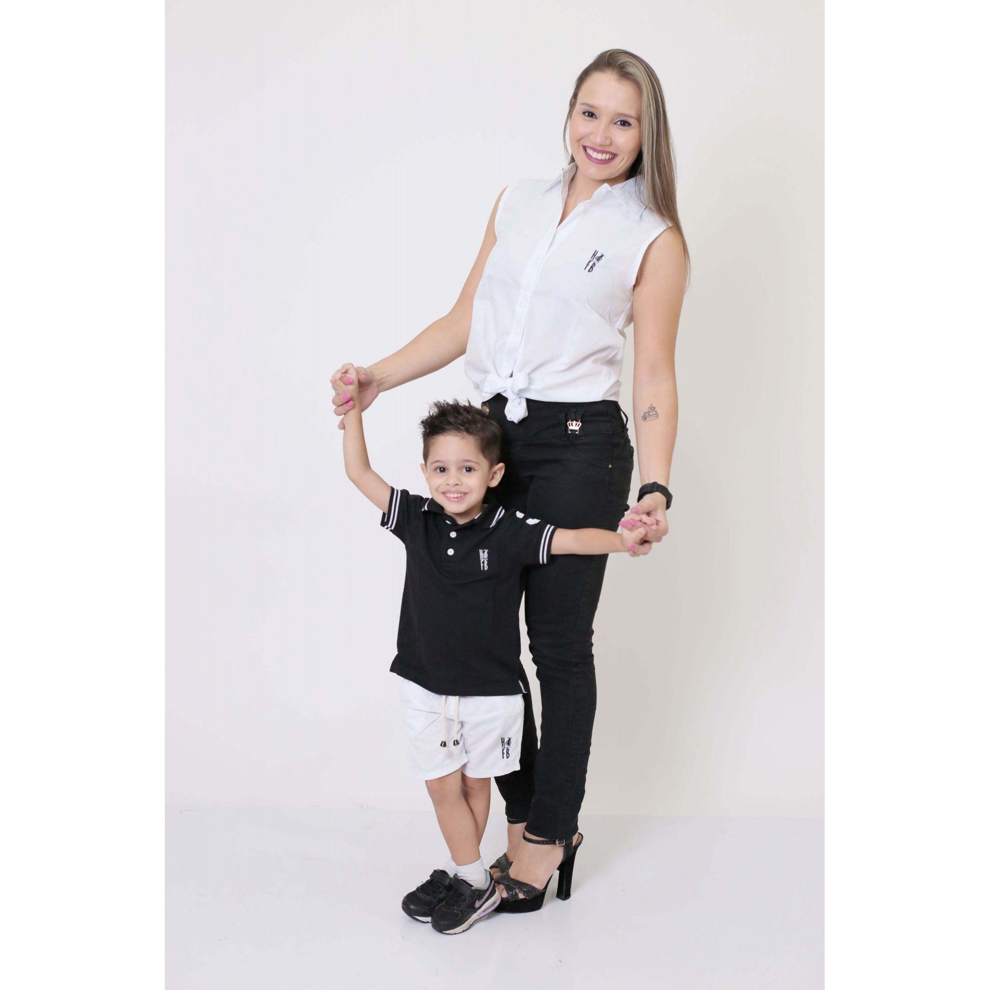 MÃE E FILHO > Camisa Feminina + Bermuda Infantil Branca [Coleção Tal Mãe Tal Filho]