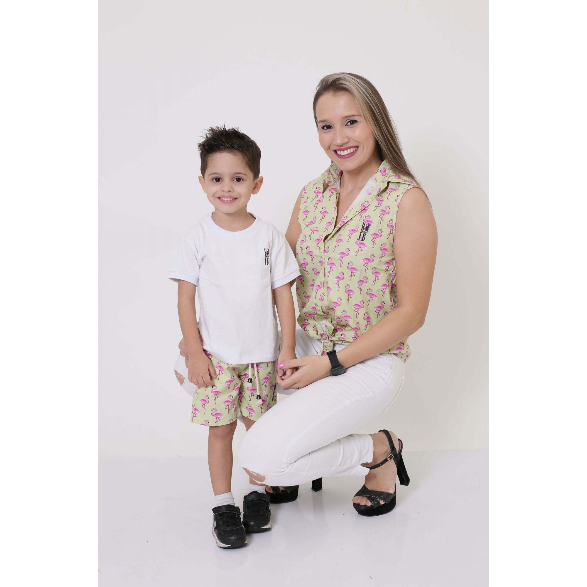 MÃE E FILHO > Camisa Feminina + Bermuda Infantil Flamingos [Coleção Tal Mãe Tal Filho]  - Heitor Fashion Brazil