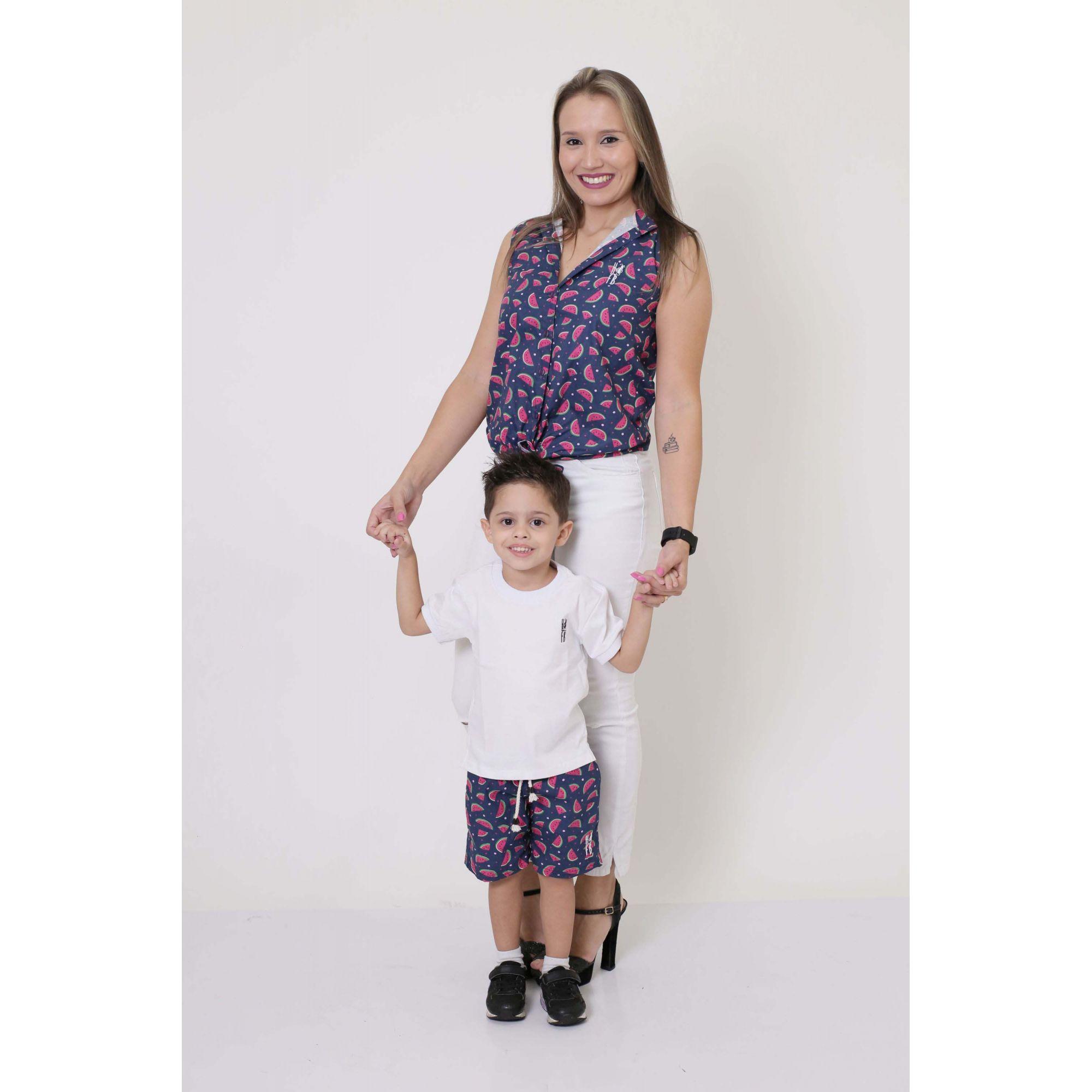 MÃE E FILHO > Camisa Feminina + Bermuda Infantil Melancia [Coleção Tal Mãe Tal Filho]