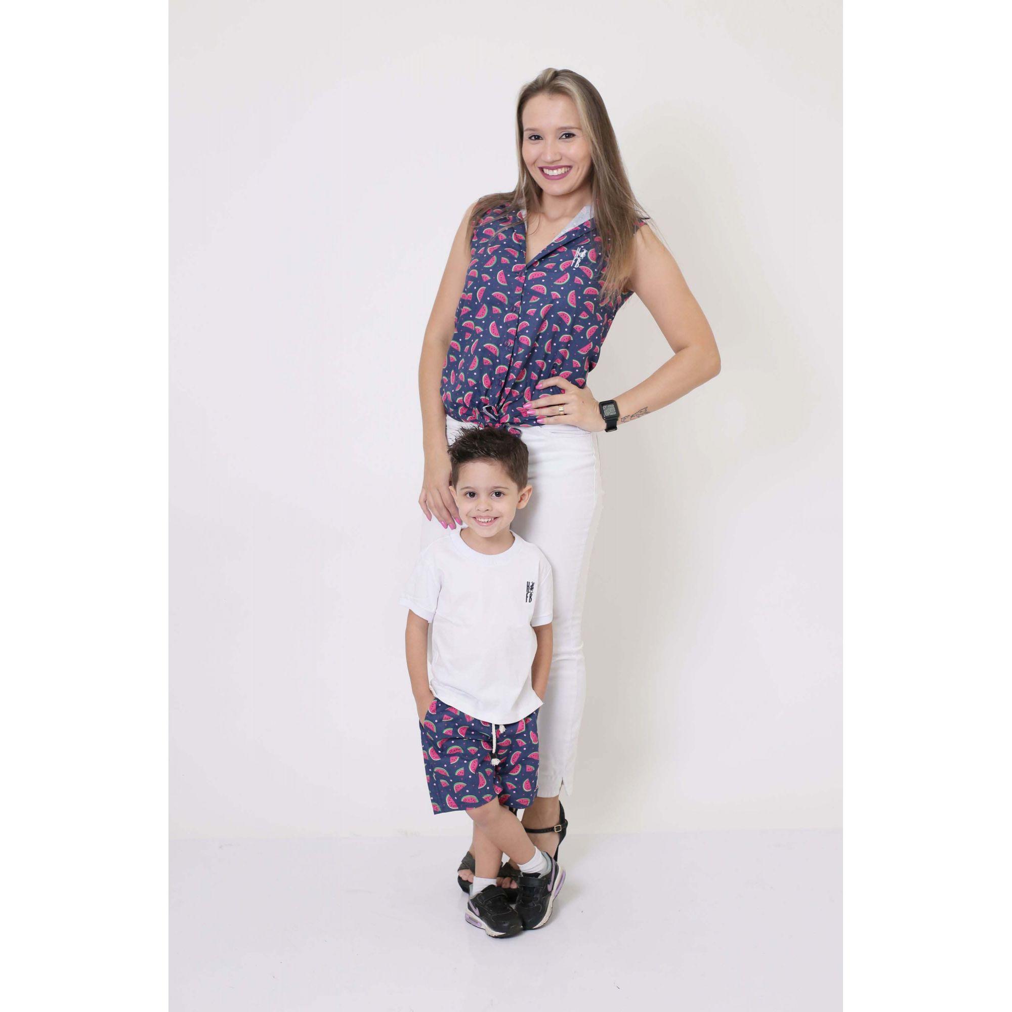 MÃE E FILHO > Camisa Feminina + Bermuda Infantil Melancia [Coleção Tal Mãe Tal Filho]  - Heitor Fashion Brazil