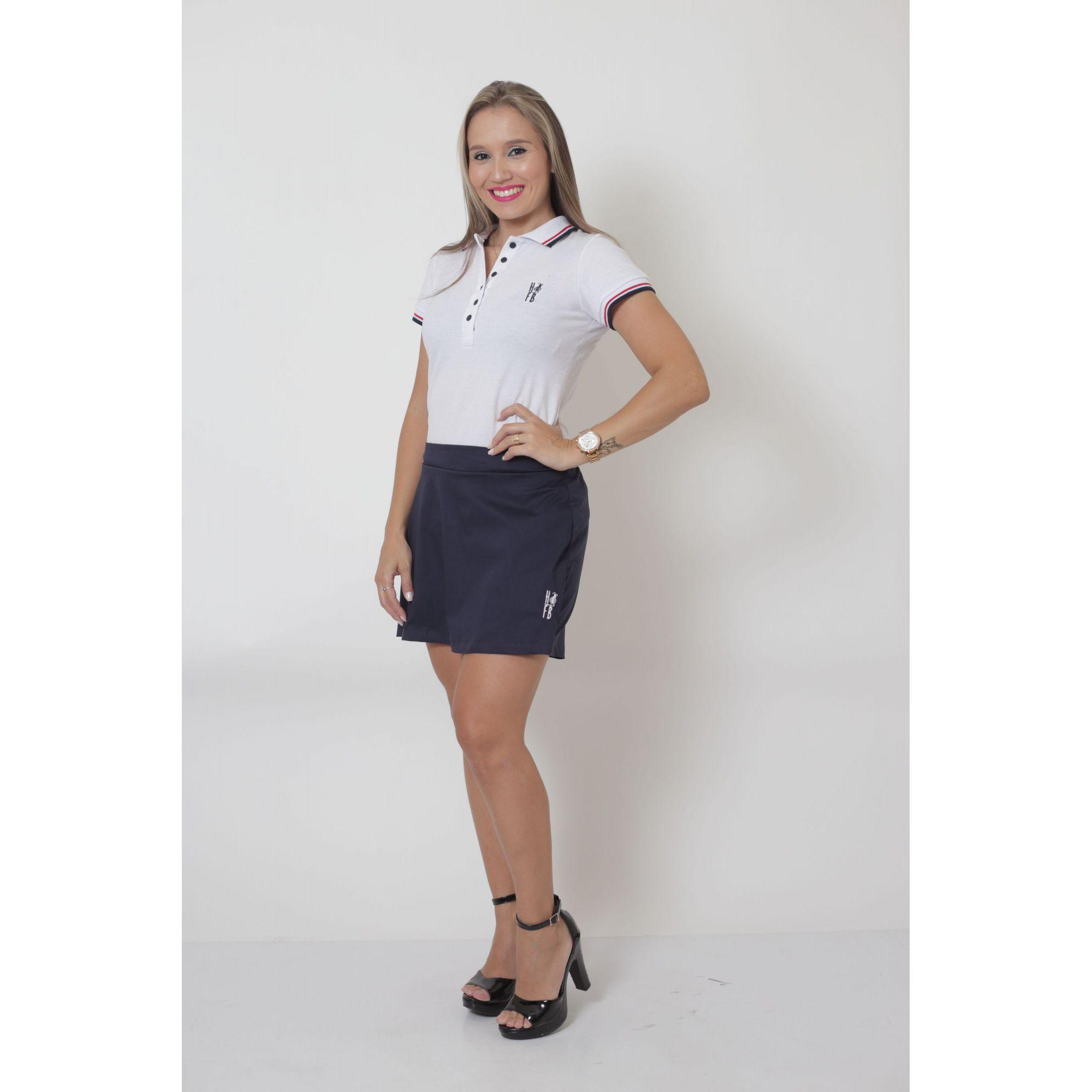 COMBO - MÃE E FILHO > Kit Shorts Saia Azul e Polo Fem Branca + Bermuda Infantil Azul e Polo Infantil Branca [Coleção Tal Mãe Tal Filho]  - Heitor Fashion Brazil