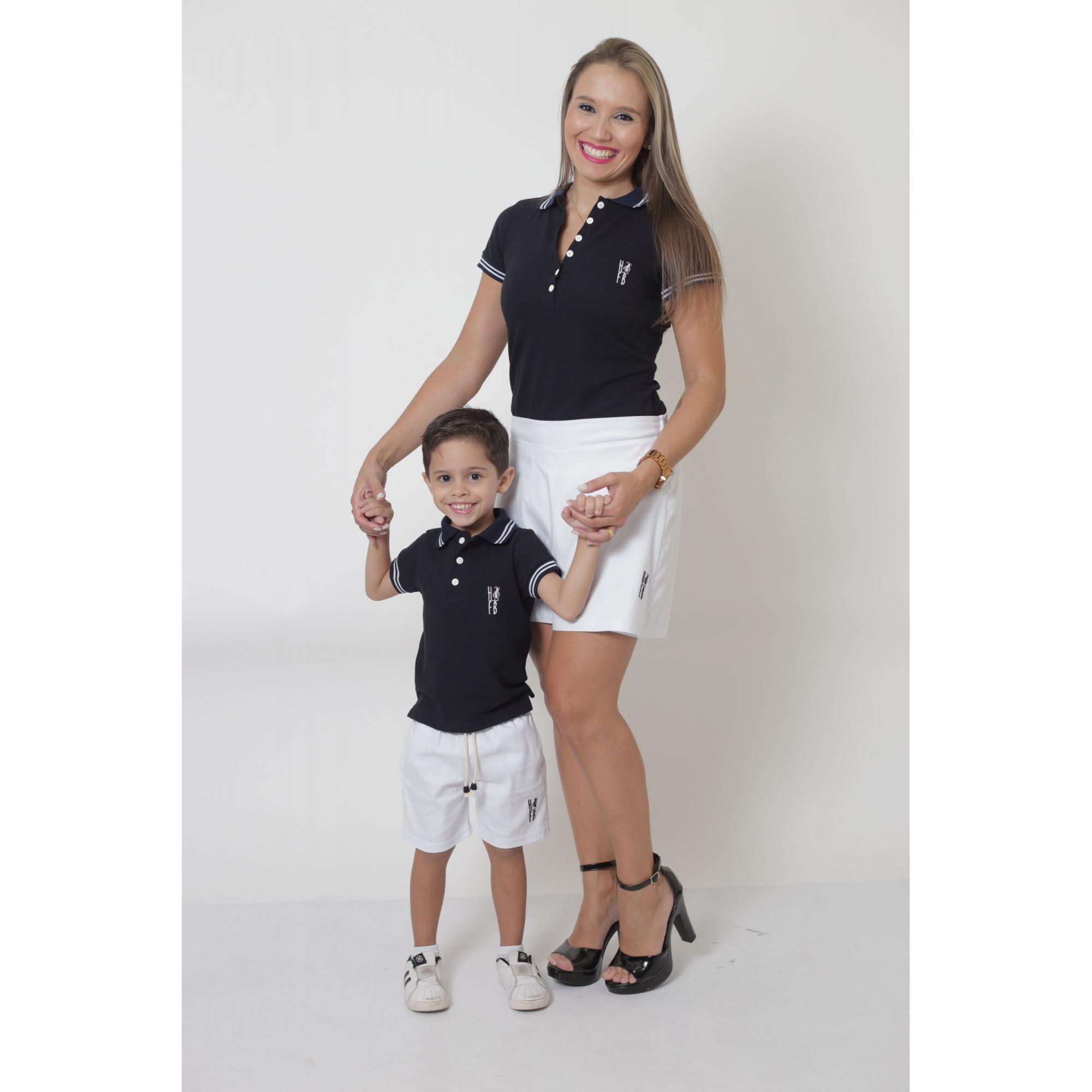 COMBO - MÃE E FILHO > Kit - Shorts Saia Branco e Polo Fem Azul + Bermuda Infantil Branca e Polo Infantil Azul [Coleção Tal Mãe Tal Filho]  - Heitor Fashion Brazil
