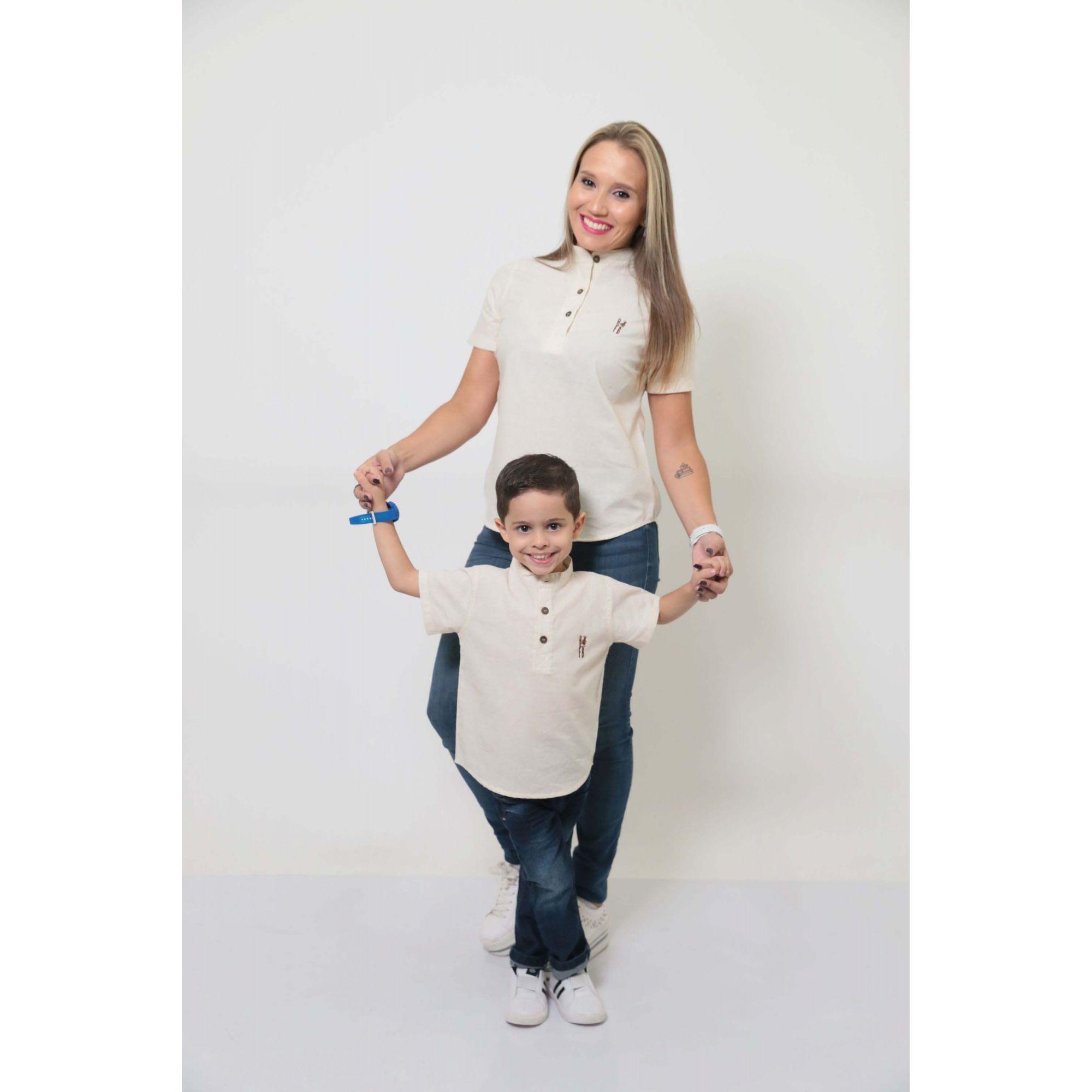 MÃE E FILHO > Kit 02 Camisas Bata - Adulto e Infantil Gola Padre [Coleção Tal Mãe Tal Filho]