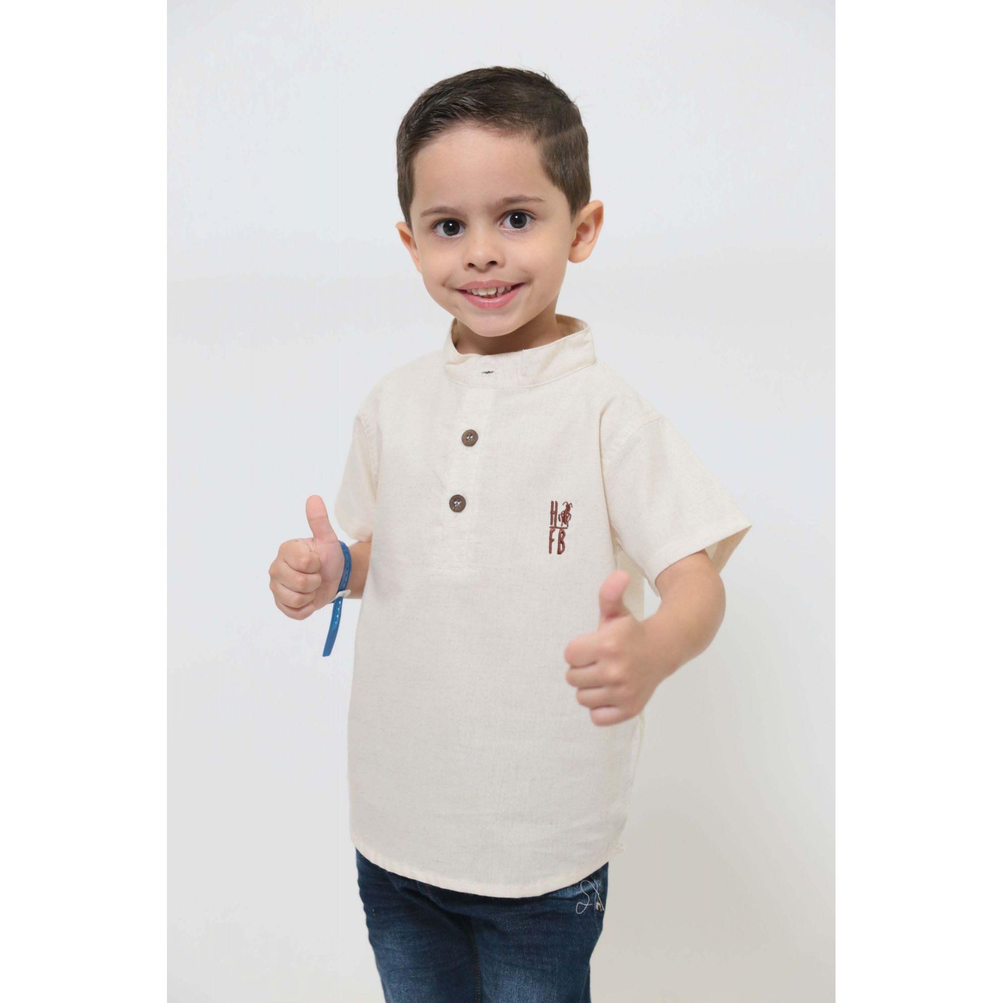 MÃE E FILHO > Kit 02 Camisas Bata - Adulto e Infantil Gola Padre [Coleção Tal Mãe Tal Filho]  - Heitor Fashion Brazil