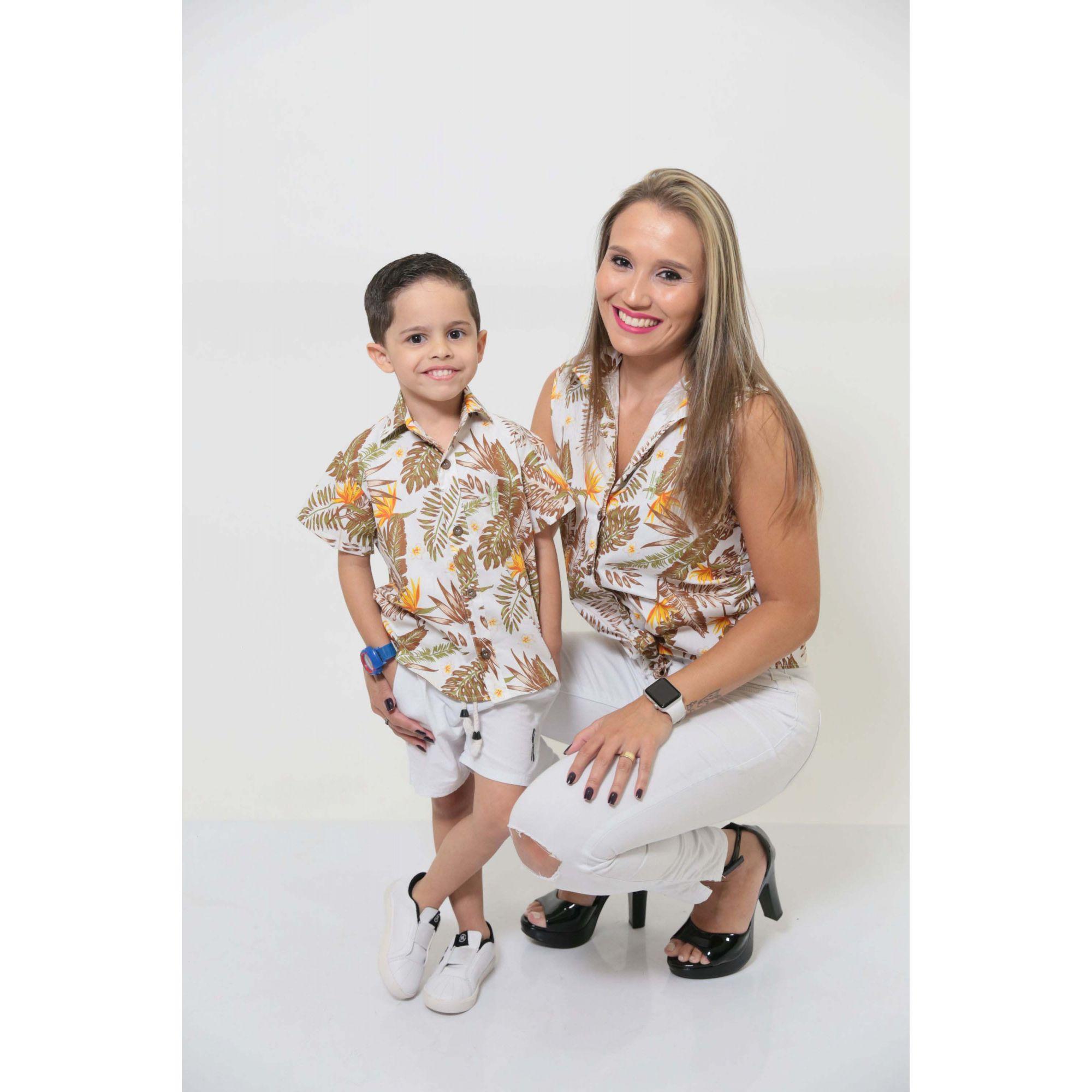 MÃE E FILHO > Kit 02 Camisas Social - Adulto e Infantil Amazonas [Coleção Tal Mãe Tal Filho]