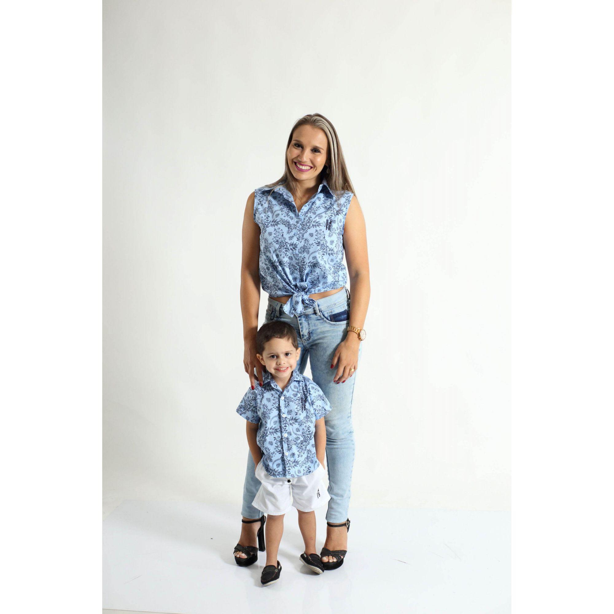 MÃE E FILHO > Kit 02 Camisas Social Adulto e Infantil Azul Floral [Coleção Tal Mãe Tal Filho]