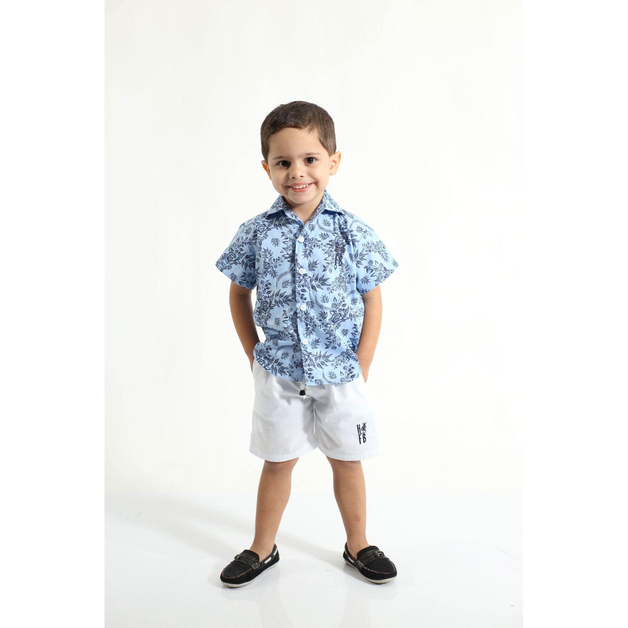 MÃE E FILHO > Kit 02 Camisas Social Adulto e Infantil Azul Floral [Coleção Tal Mãe Tal Filho]  - Heitor Fashion Brazil