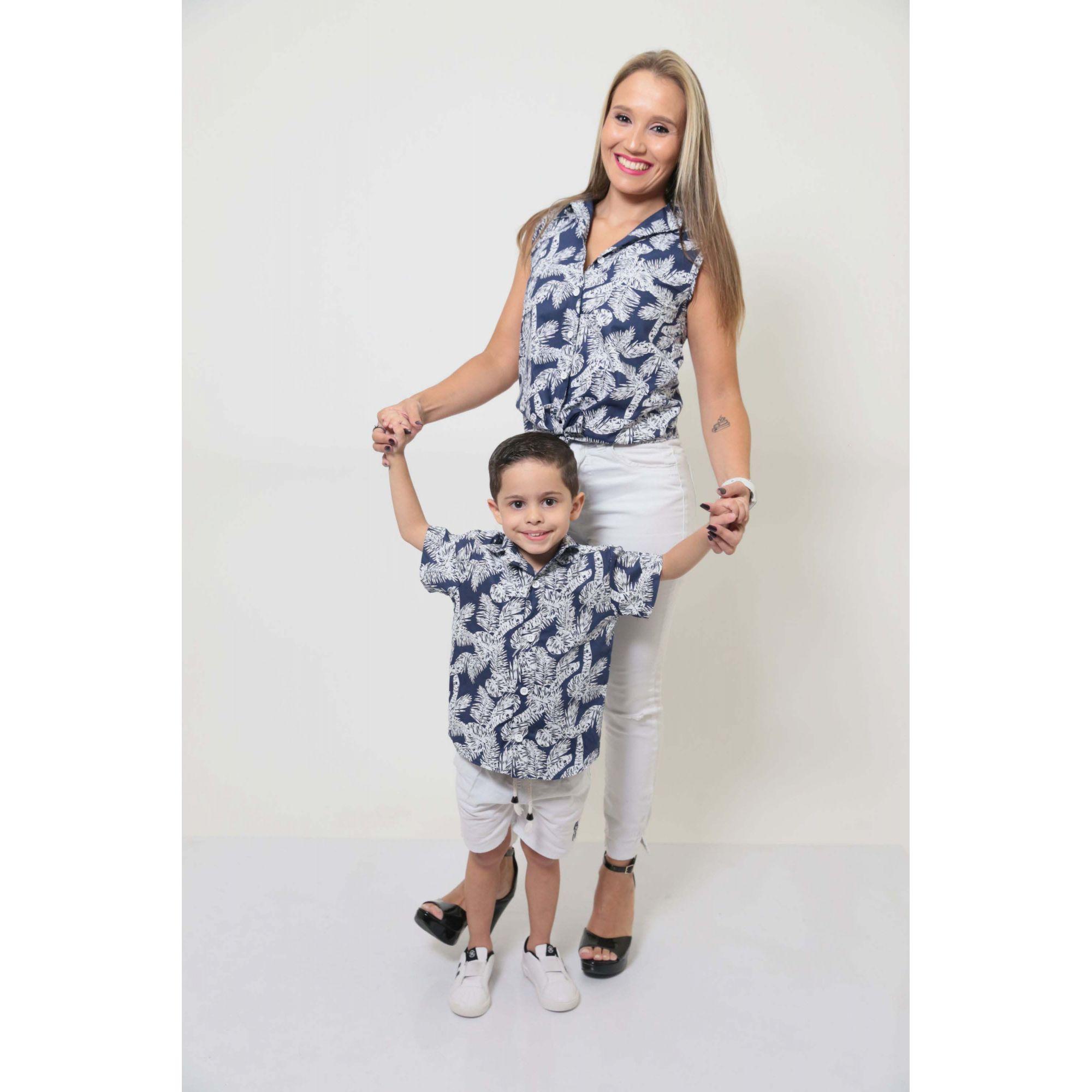MÃE E FILHO > Kit 02 Camisas Social - Adulto e Infantil Azul Floresta [Coleção Tal Mãe Tal Filho]