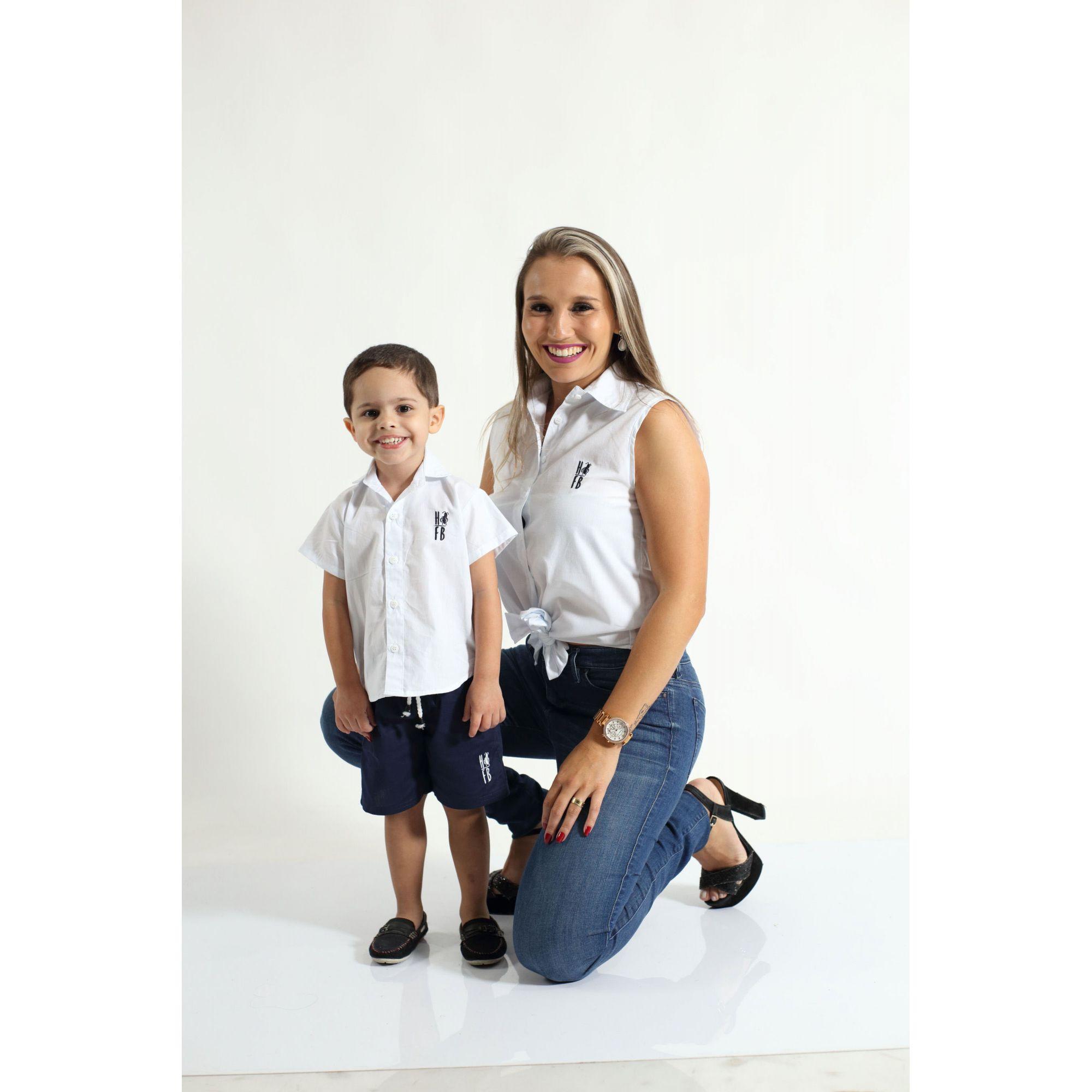 MÃE E FILHO > Kit 02 Camisas Social Adulto e Infantil Branca [Coleção Tal Mãe Tal Filho]