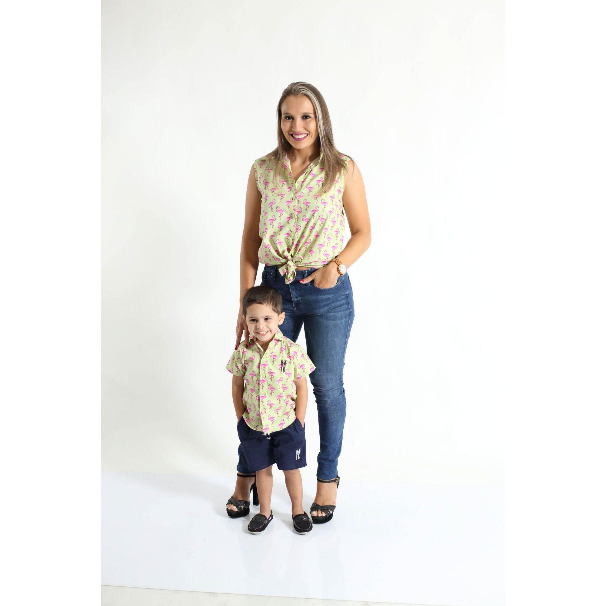MÃE E FILHO > Kit 02 Camisas Social Adulto e Infantil Flamingos [Coleção Tal Mãe Tal Filho]