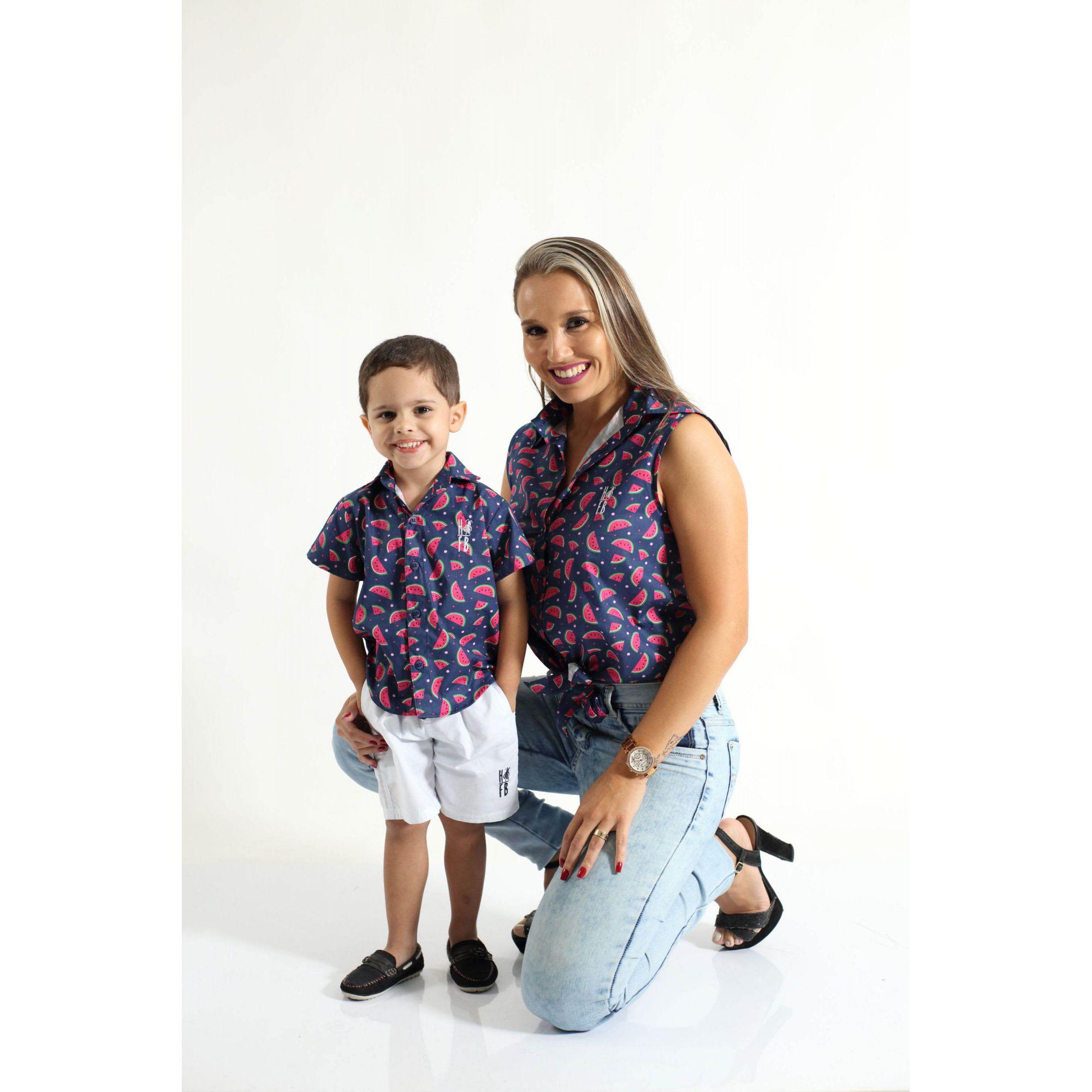 MÃE E FILHO > Kit 02 Camisas Social Adulto e Infantil Melancia [Coleção Tal Mãe Tal Filho]