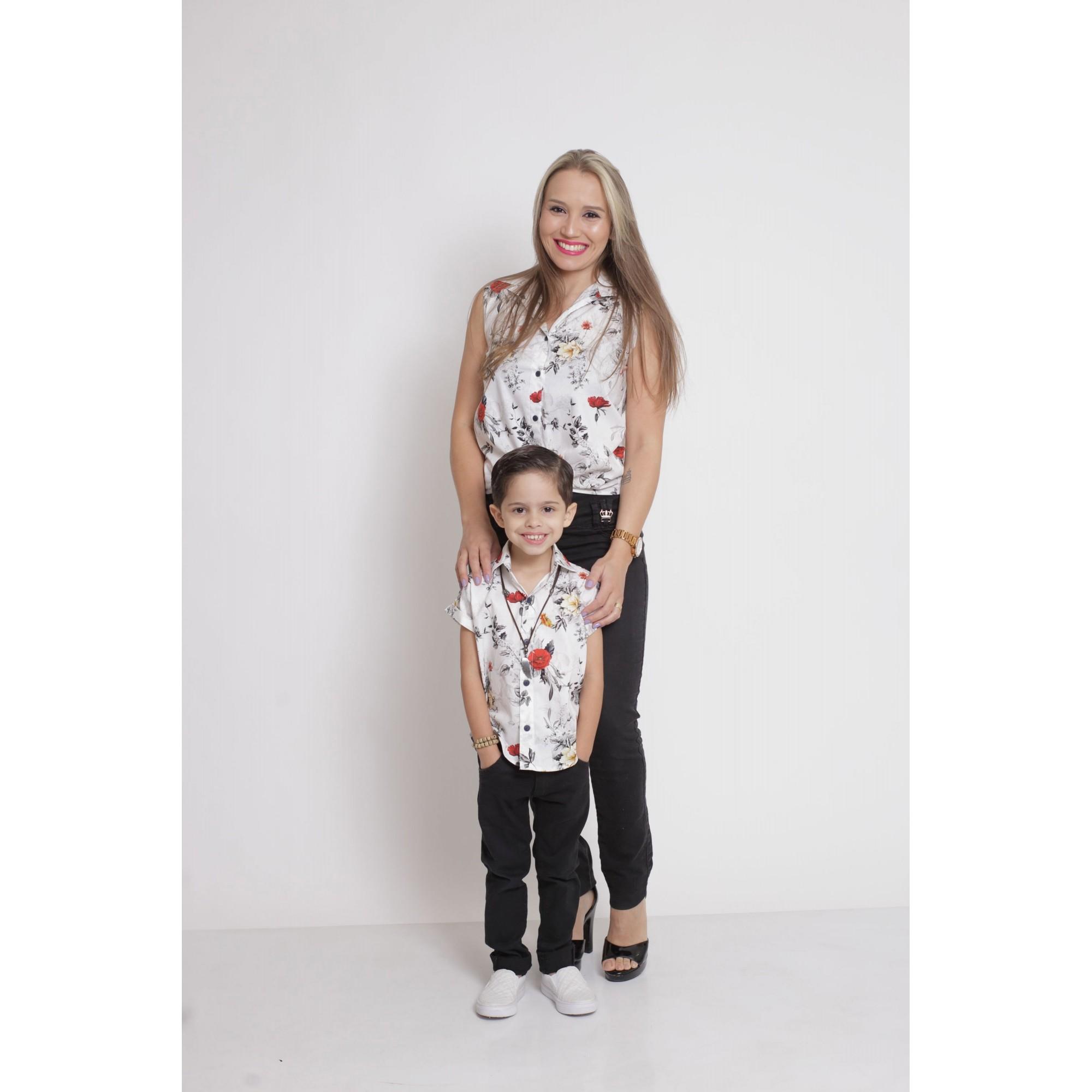 MÃE E FILHO > Kit 02 Camisas Social - Adulto + Infantil Branca Floral [Coleção Tal Mãe Tal Filho]