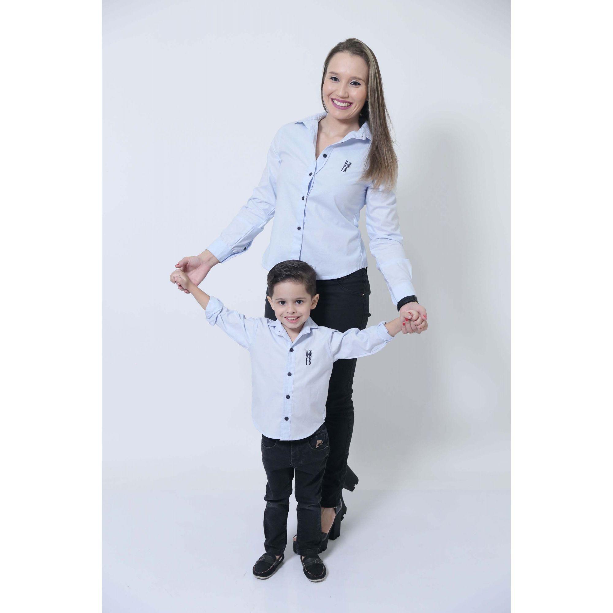 MÃE E FILHO > Kit 02 Camisas Social Azul Claro Bebê [Coleção Tal Mãe Tal Filho]