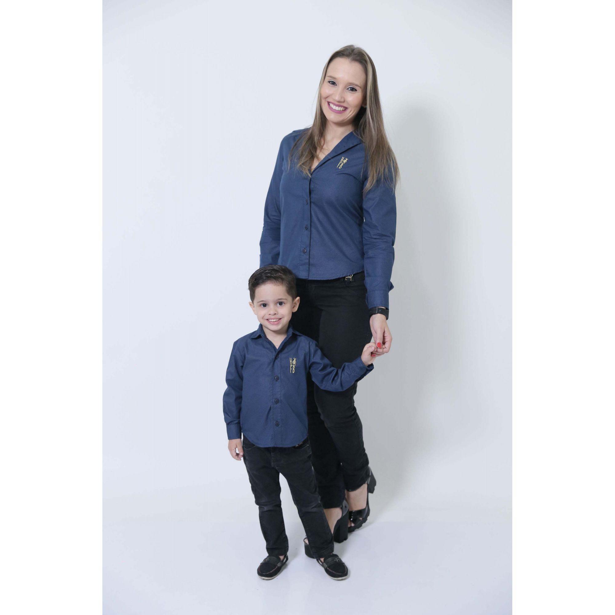 MÃE E FILHO > Kit 02 Camisas Social Azul Marinho Steve Seagal [Coleção Tal Mãe Tal Filho]
