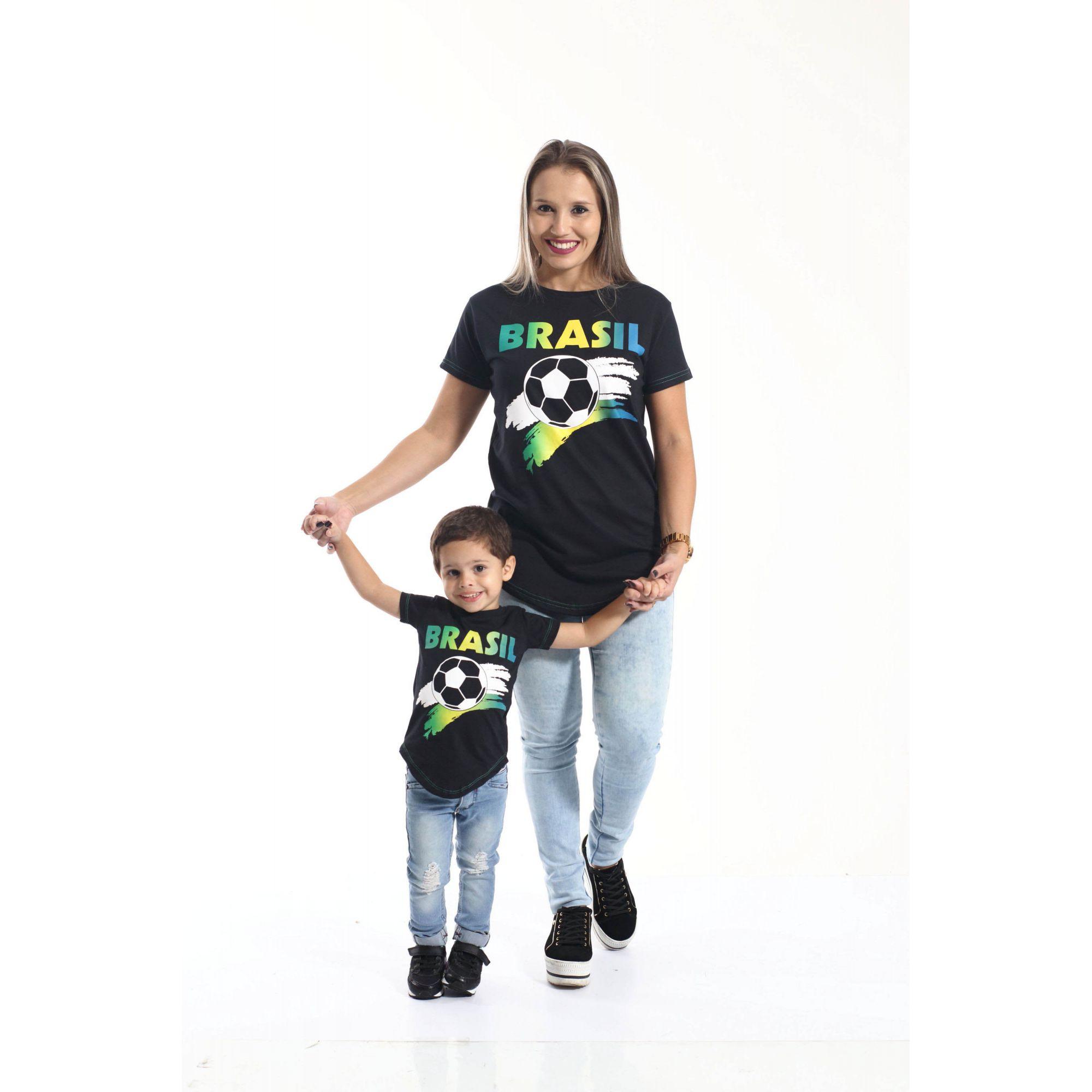 ed5d007a2 MÃE E FILHO > Kit 02 Camisetas Long Brasil [Coleção Tal Mãe Tal Filho] ...