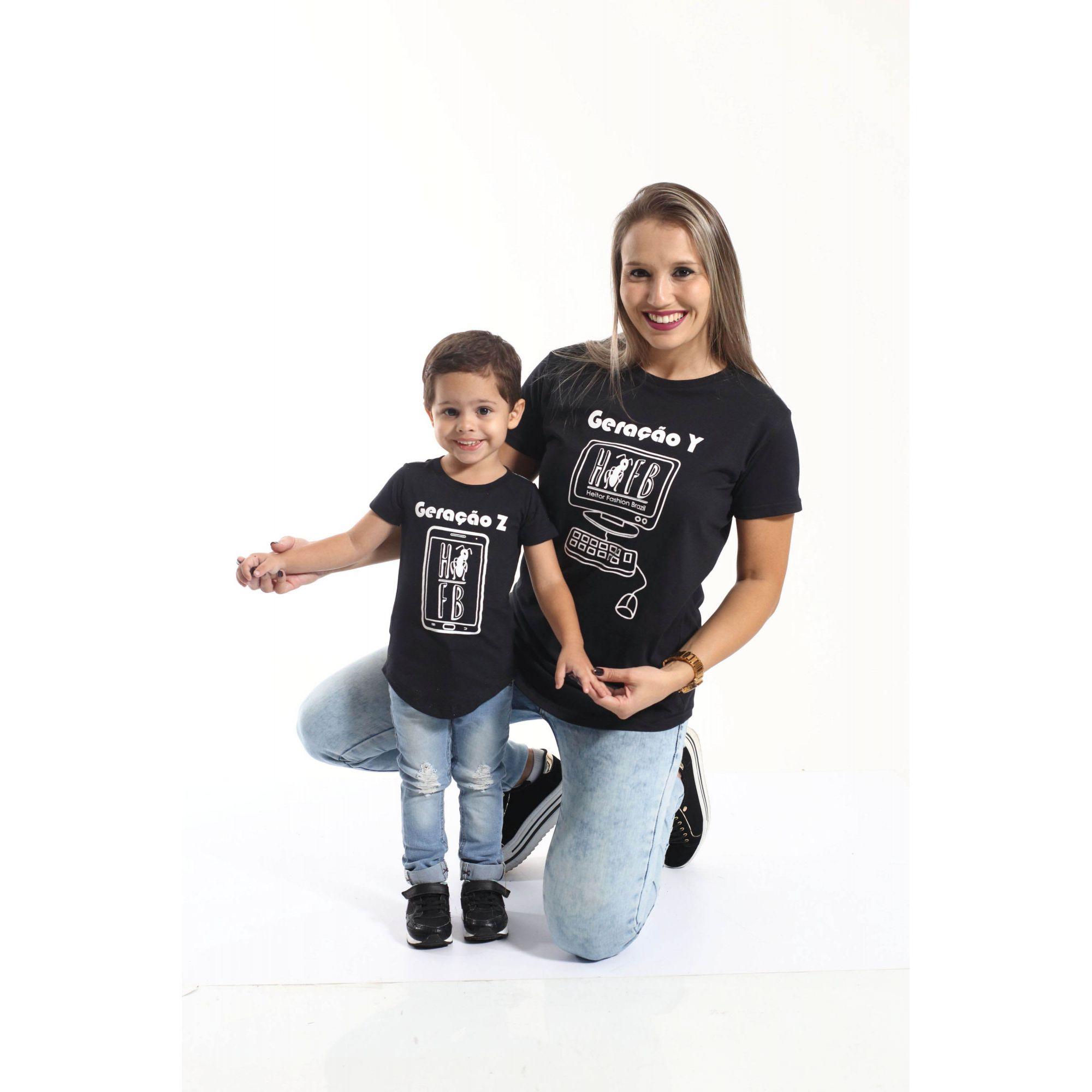 MÃE E FILHO > Kit 02 Camisetas Long Geração Z e Y [Coleção Tal Mãe Tal Filho]  - Heitor Fashion Brazil