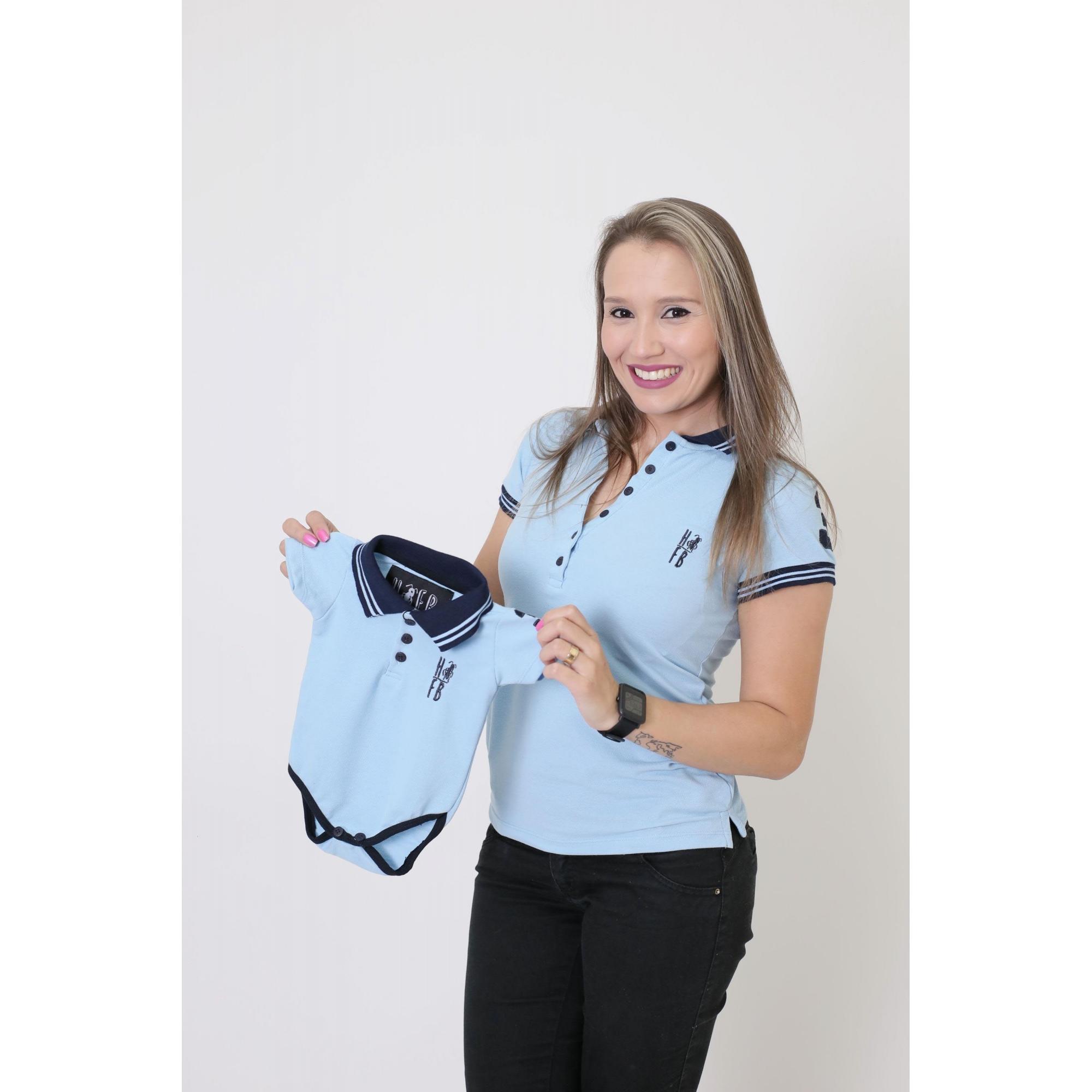 MÃE E FILHO > Kit 02 Peças - Camisa + Body Unissex Polo Azul Claro [Coleção Tal Mãe Tal Filho]