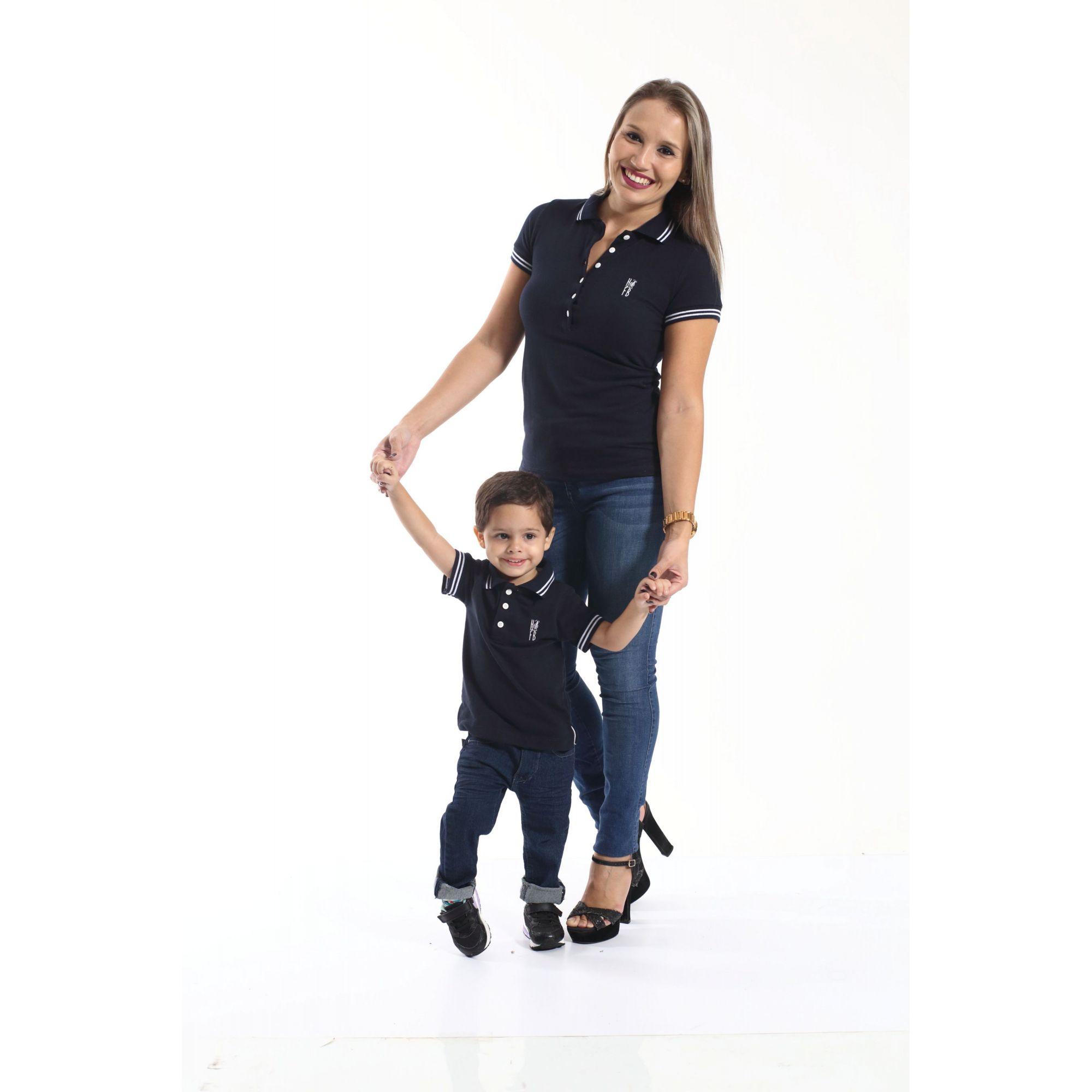 MÃE E FILHO > Kit 02 peças Camisas ou Body Polo Azul Marinho Céu [Coleção Tal Mãe Tal Filho]