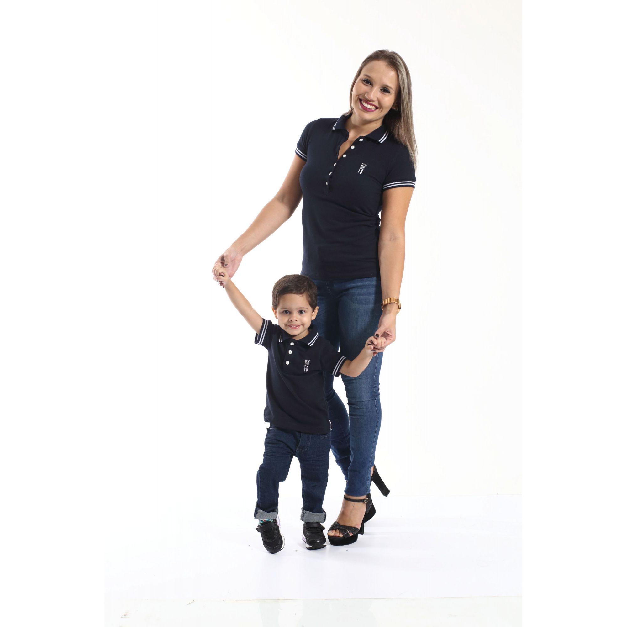 MÃE E FILHO > Kit 02 peças Camisas ou Body Polo Azul Marinho Céu [Coleção Tal Mãe Tal Filho]  - Heitor Fashion Brazil